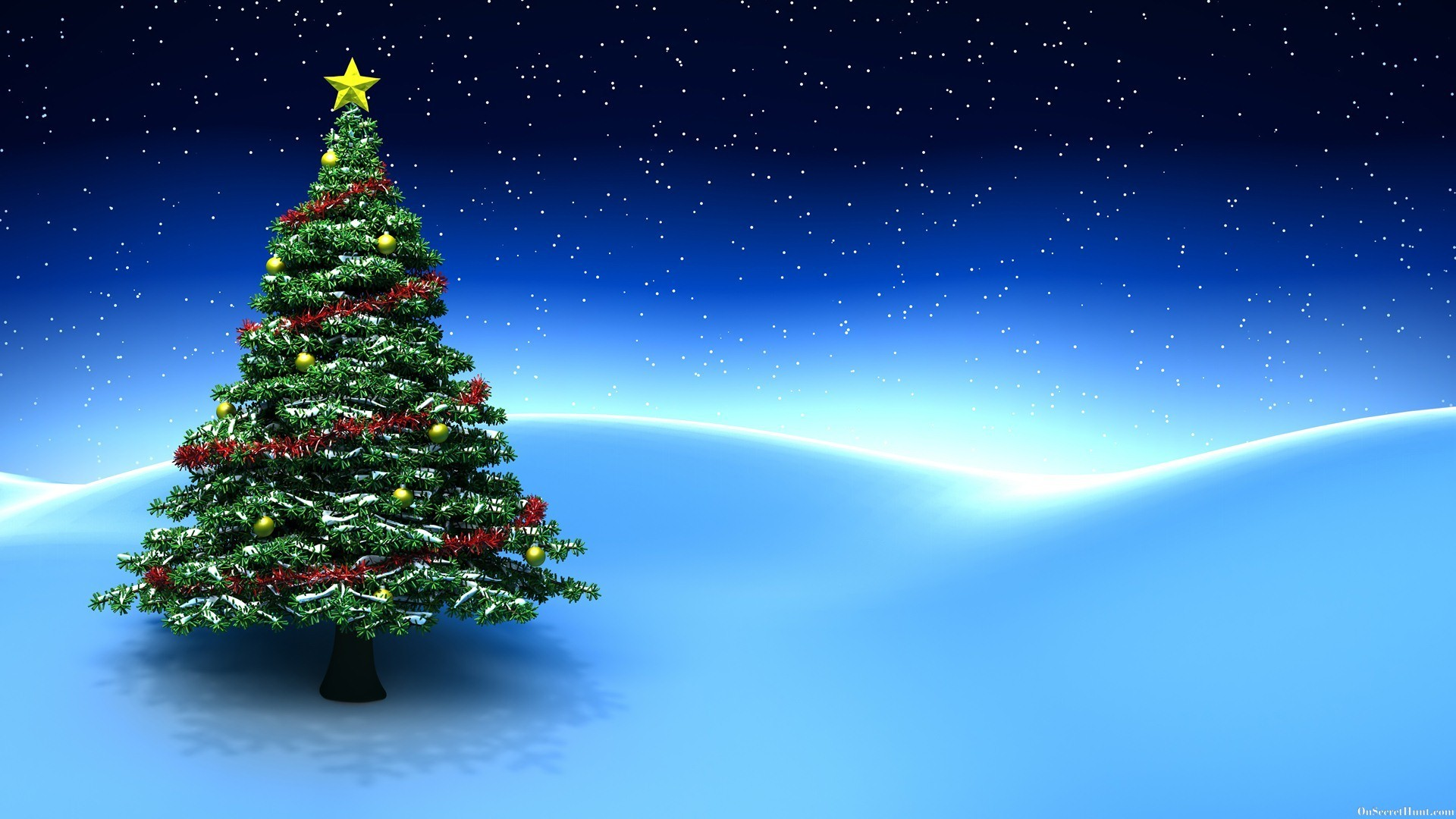 1920x1080 3D Christmas Tree Blue Background Desktop Wallpaper