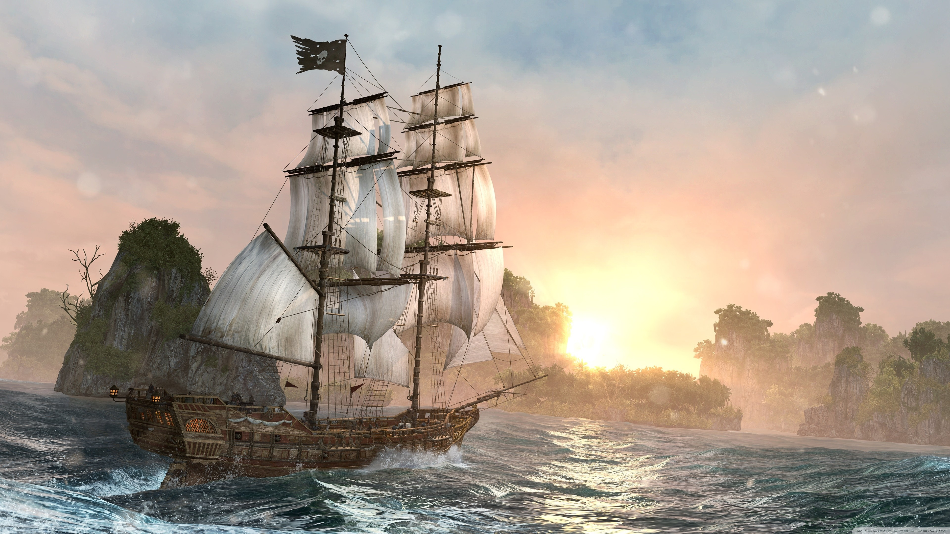 3840x2160 ... Ghost Pirate Ship Wallpaper Mobile Battle Vintage Ship Painting .