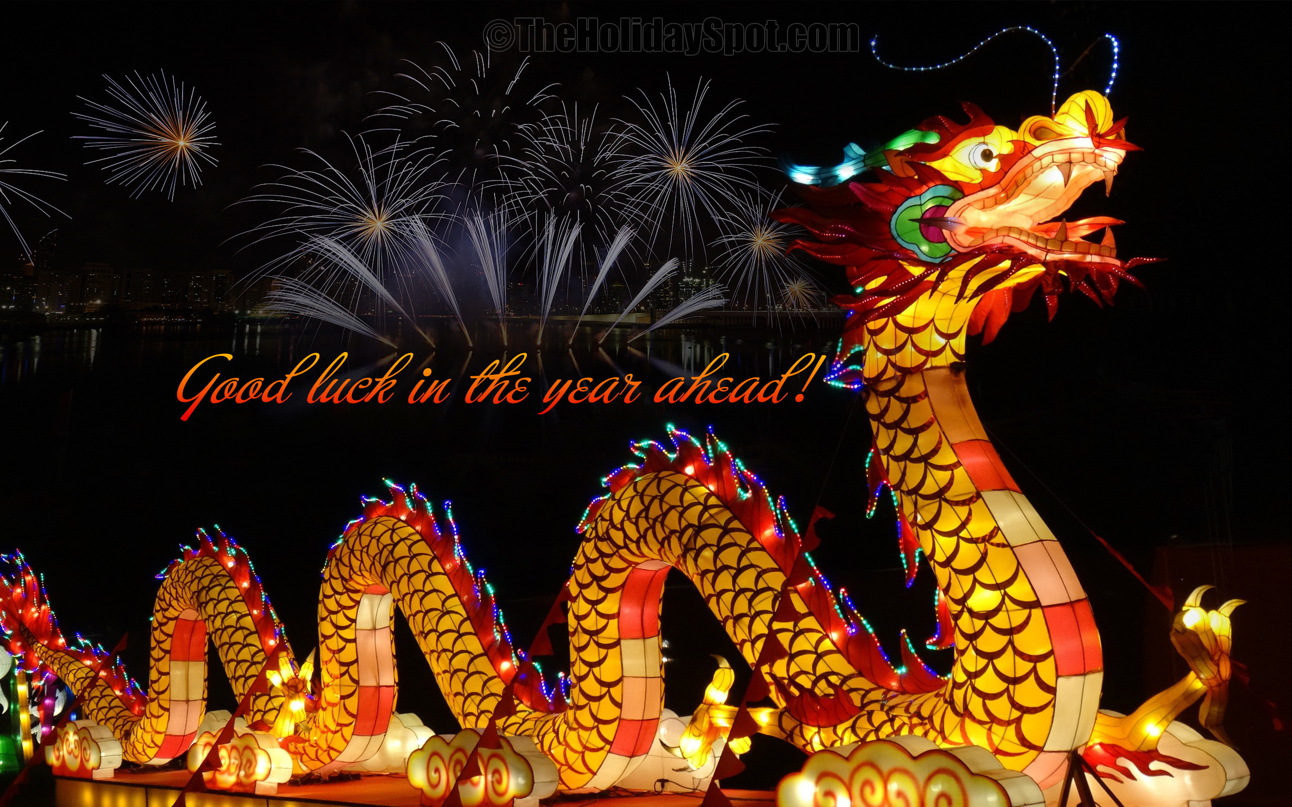 2560x1600 Chinese New Year Wallpaper with fireworks and dragon