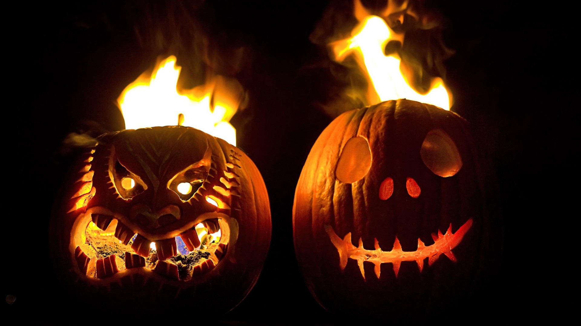1920x1080 Preview wallpaper halloween, holiday, pumpkin, faces, steam, fire, black  background