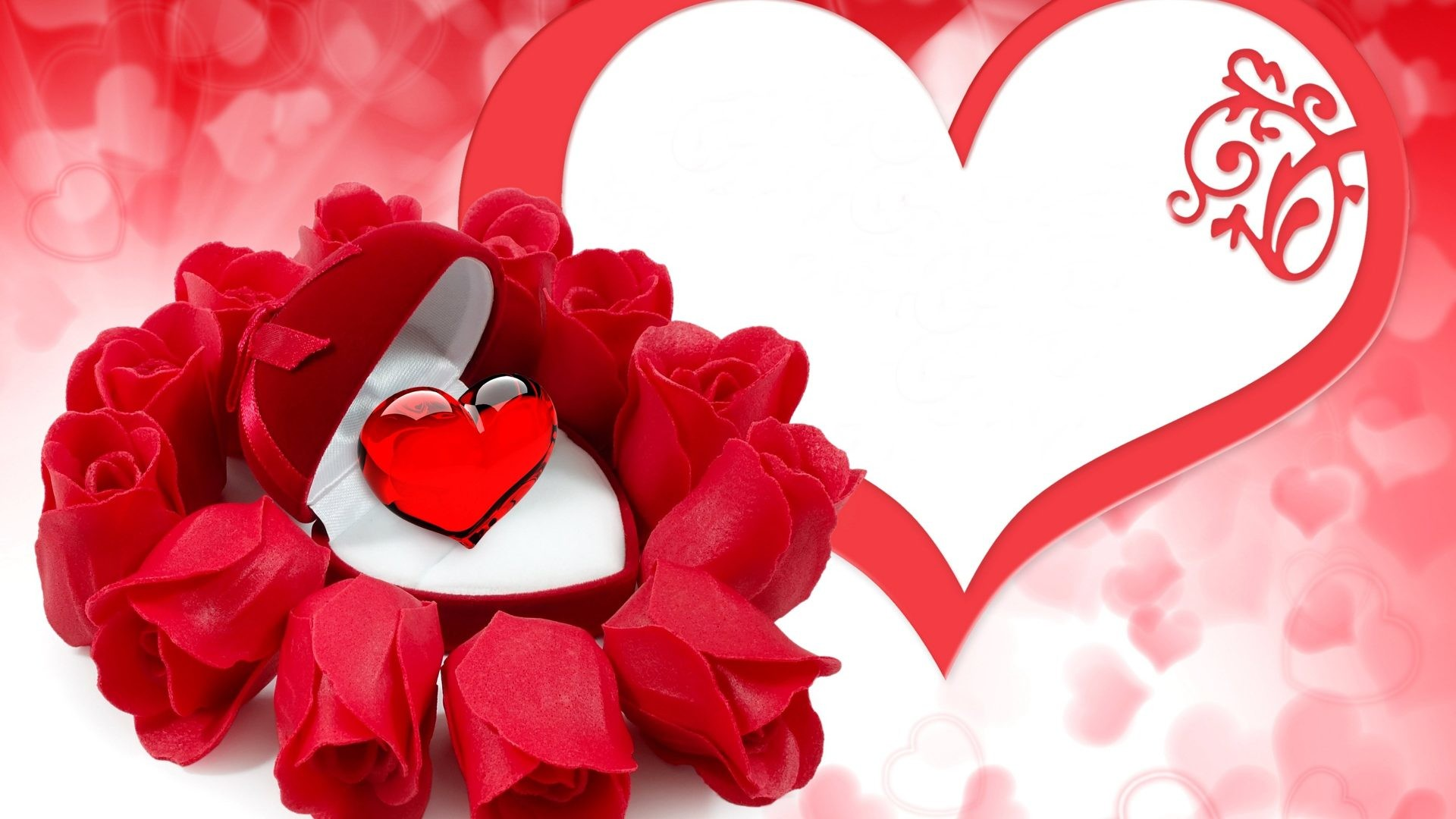 1920x1080 #EECCCC Color - Couple Red Hearts Flowers Bouquet Gift Romance Love Life  Rose Nature Scene
