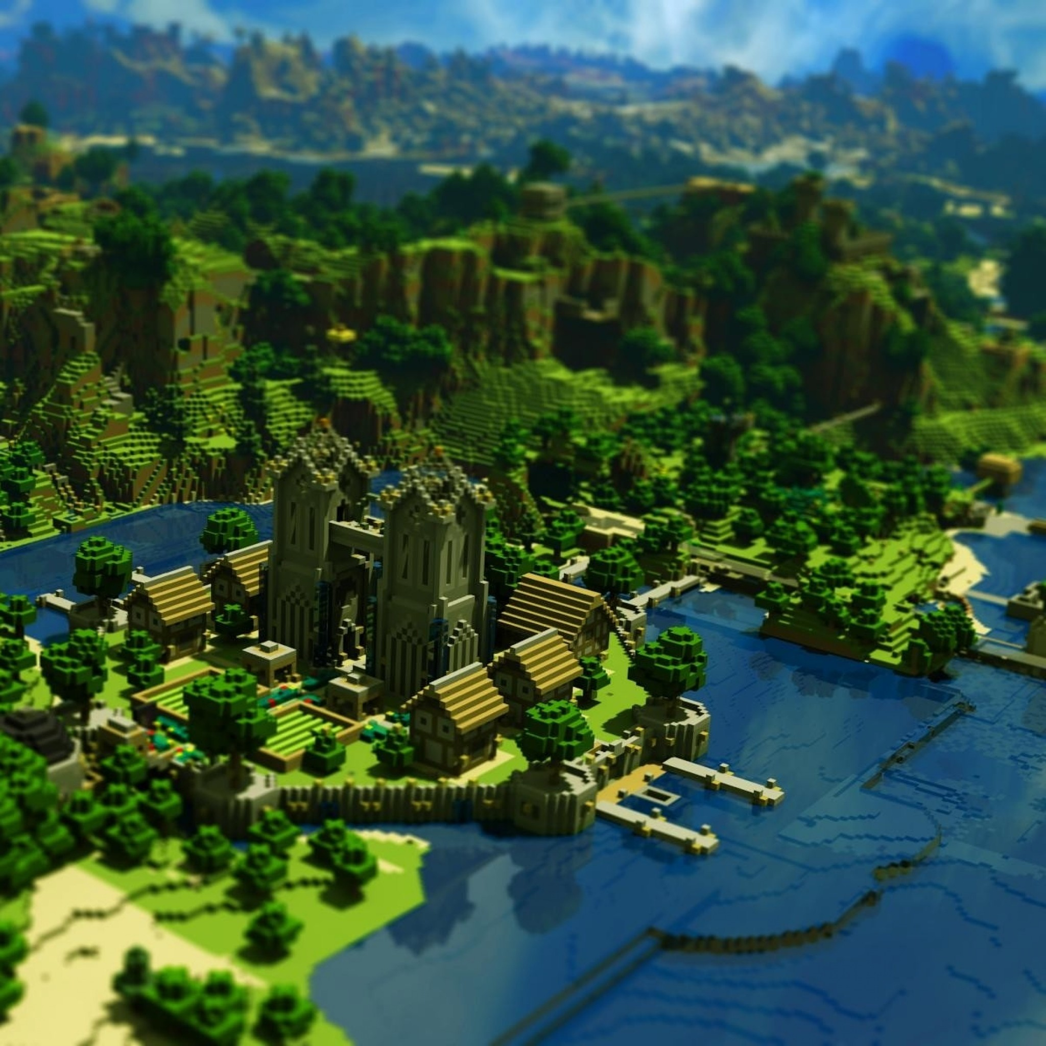 2048x2048 Preview wallpaper minecraft, trees, houses, mountains, water