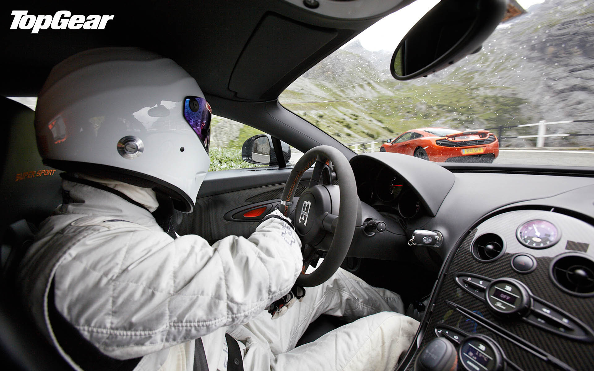 1920x1200  Top Gear Supercars: The Stig driving Bugatti Veyron VS McLaren  12C  wallpaper