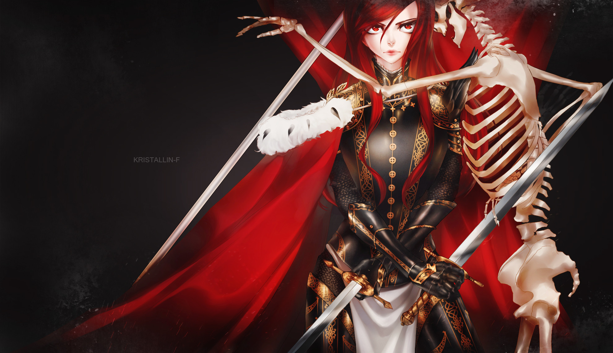 1980x1140 Tags: Anime, Kristallin-F, FAIRY TAIL, Erza Scarlet, Wallpaper,