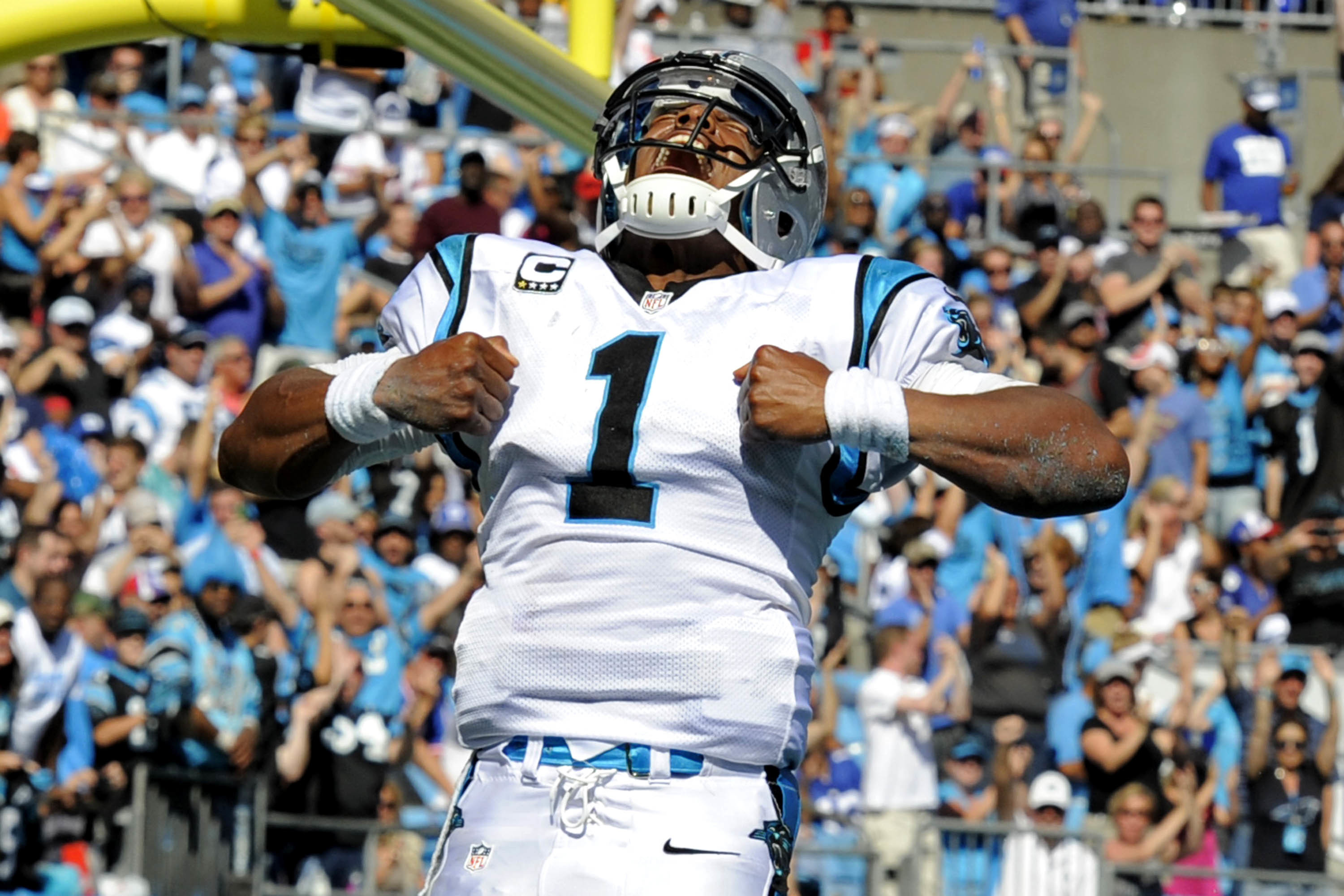 e20227ef9f1 3000x2000 Cam Newton Touchdown Celebration Superman Cam newton celebrates a  td .