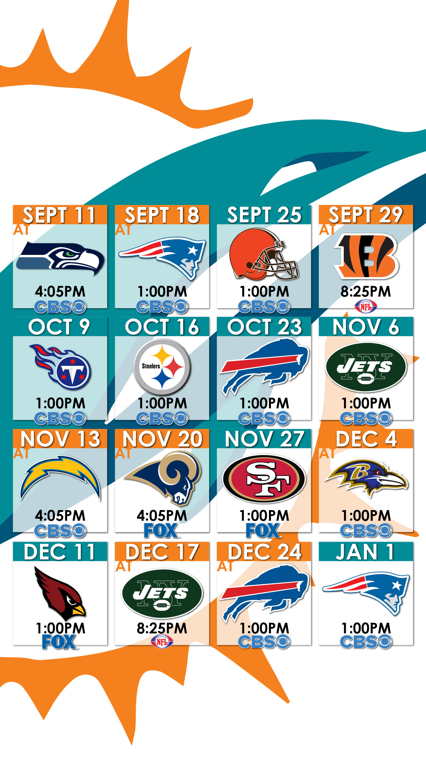 1440x2560 Miami Dolphins Schedule Wallpaper for iPhone ...
