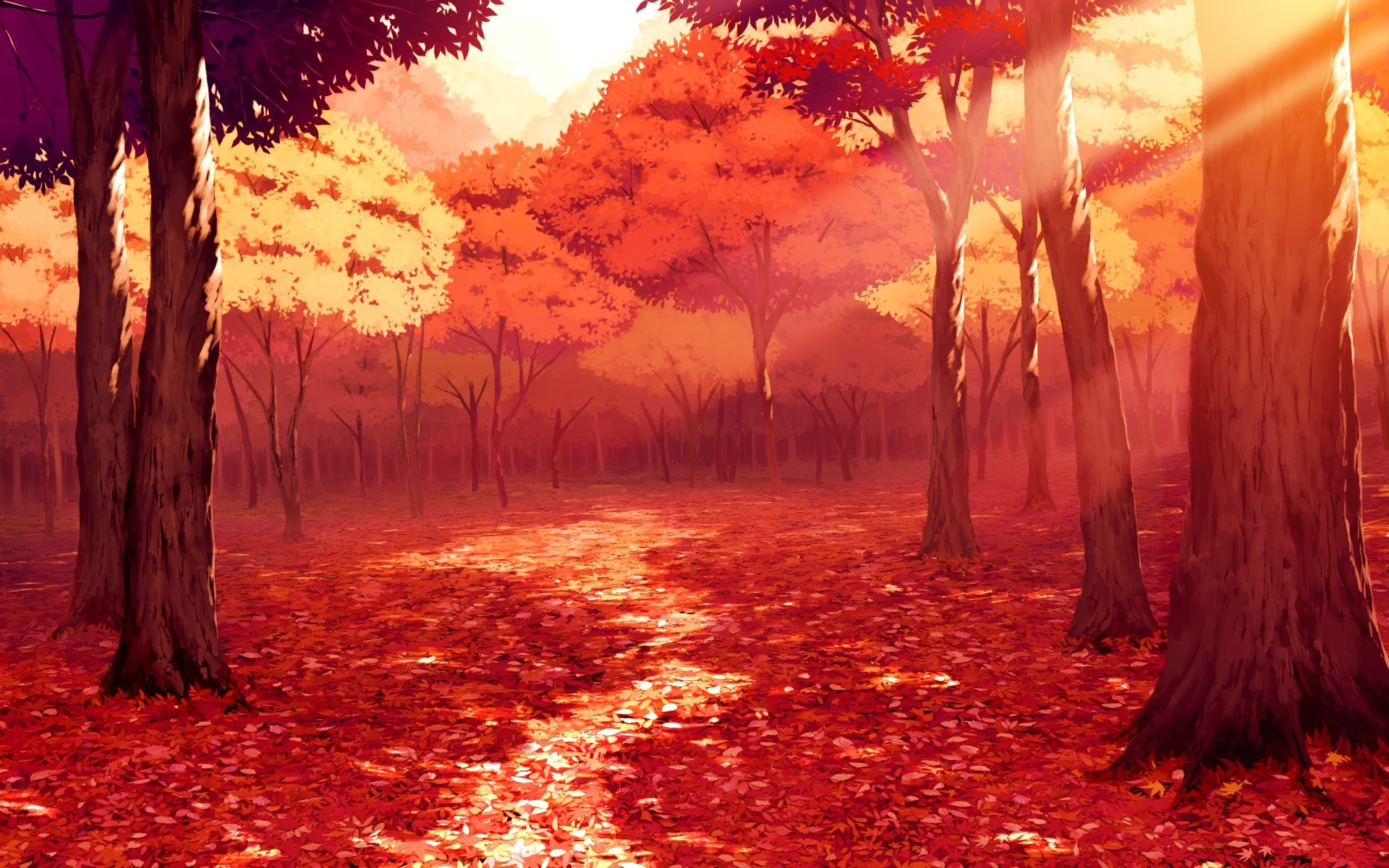 1920x1200 Anime autumn scenery