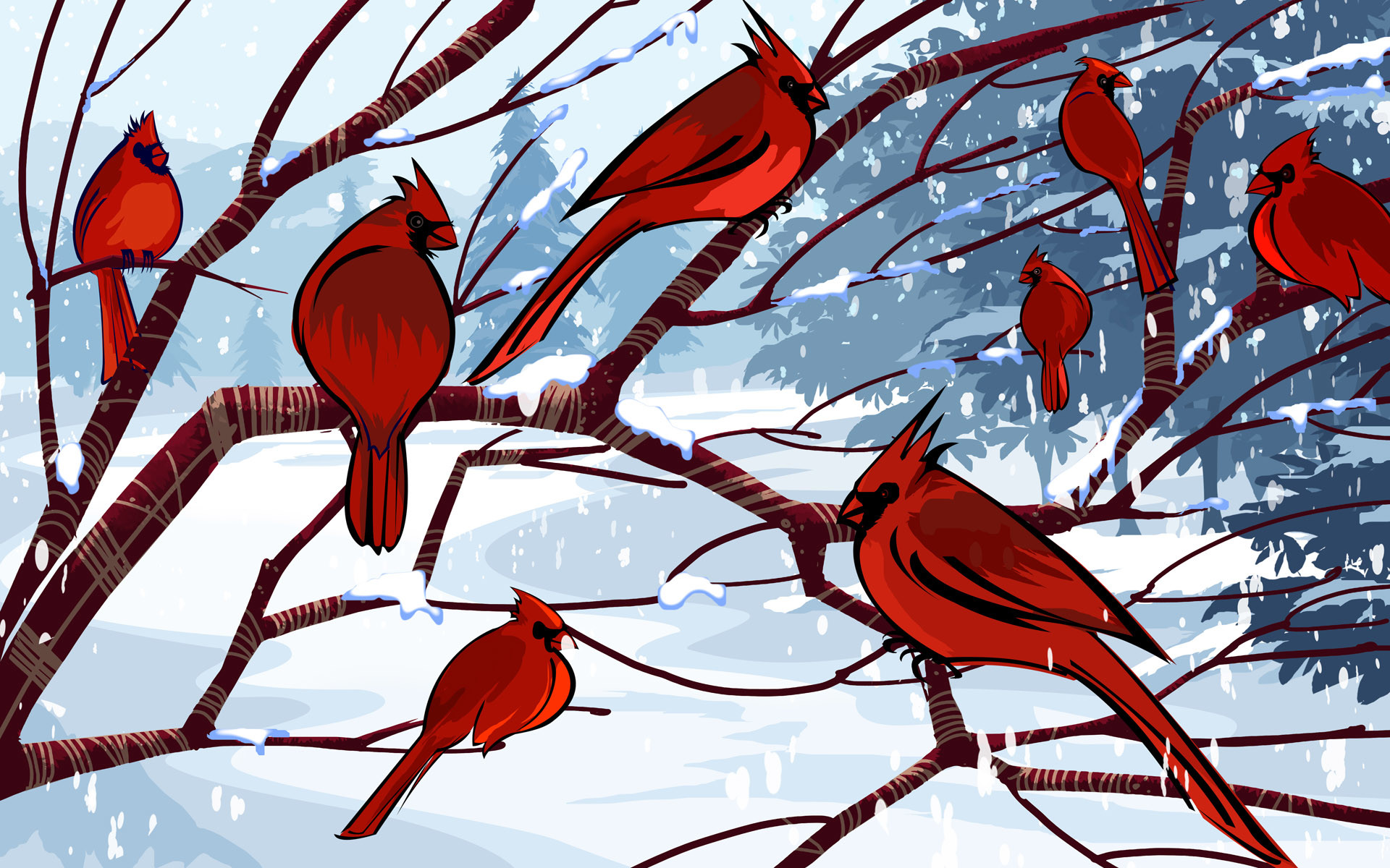 Cardinal birds in snow wallpaper 47 images - Winter cardinal background ...