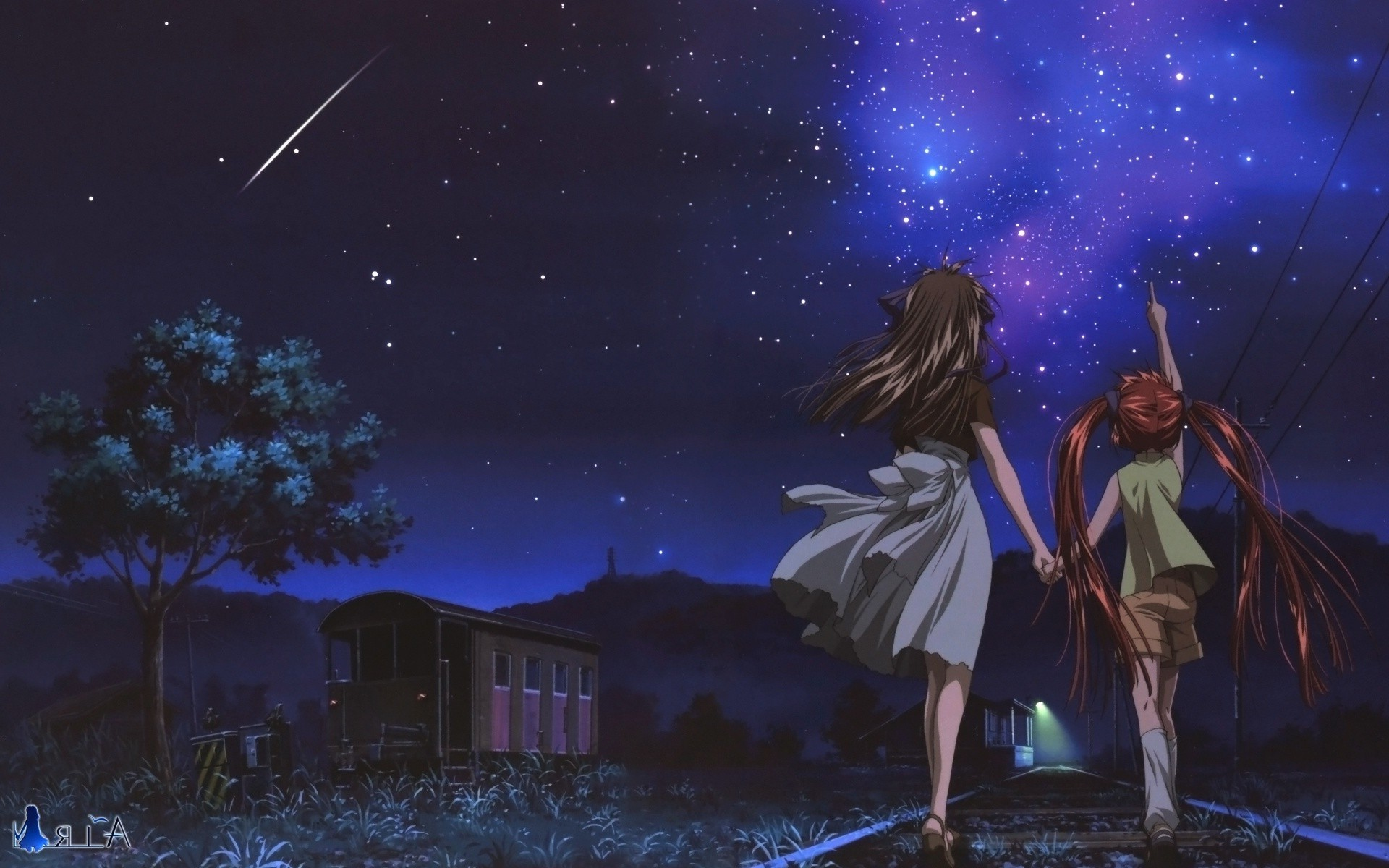 1920x1200 anime, Night, Stars, Shooting Stars, Air (anime) Wallpapers HD / Desktop  and Mobile Backgrounds