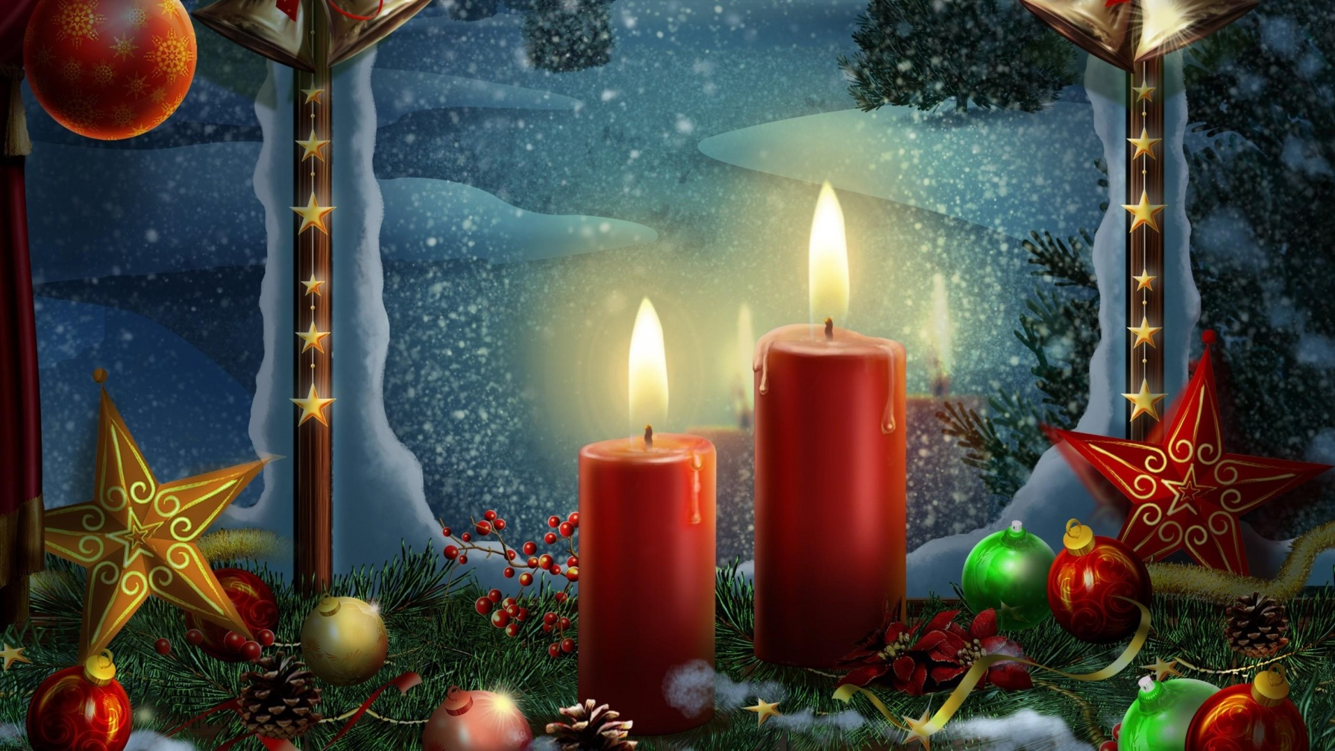 1920x1080  Wallpaper new year, holiday candles, postcards, toys, stars,  christmas