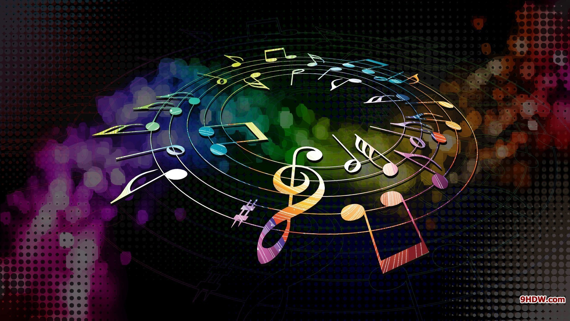 1920x1080 Colors dial multicolor music musical notes wallpaper