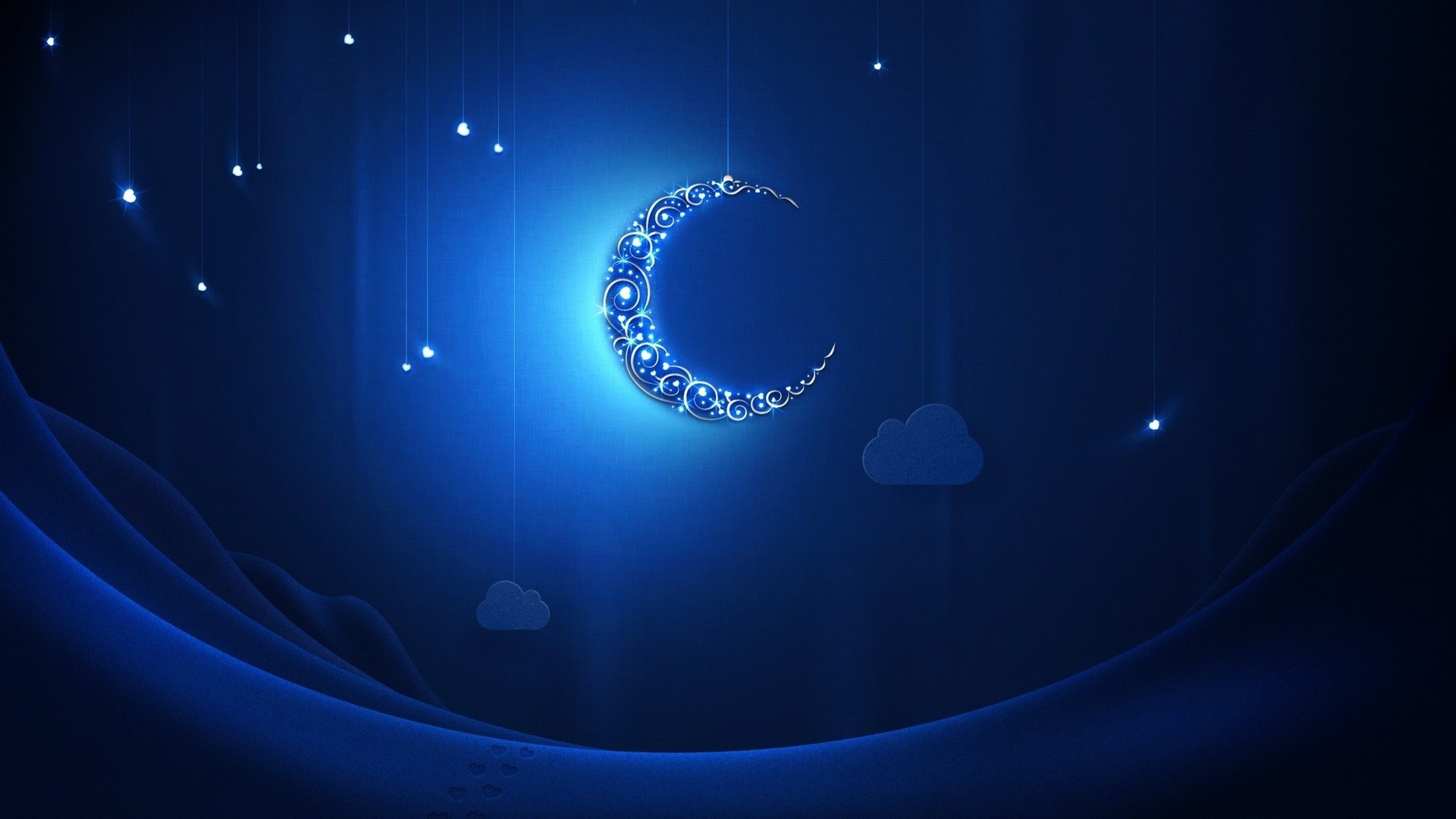 3840x2160  Wallpaper crescent moon, light, shiny, neon