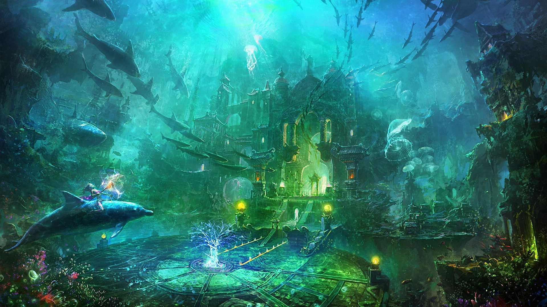 1920x1080 fantasy underwater city HD backgrounds - desktop wallpapers