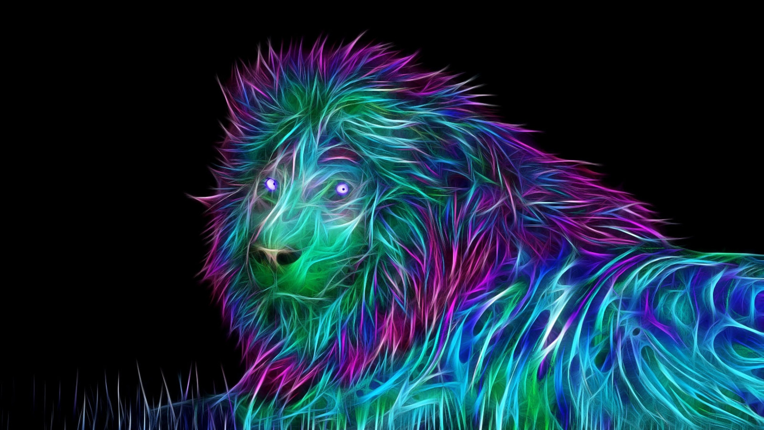2560x1440 Neon lion wallpaper #neon #lion #digitalart