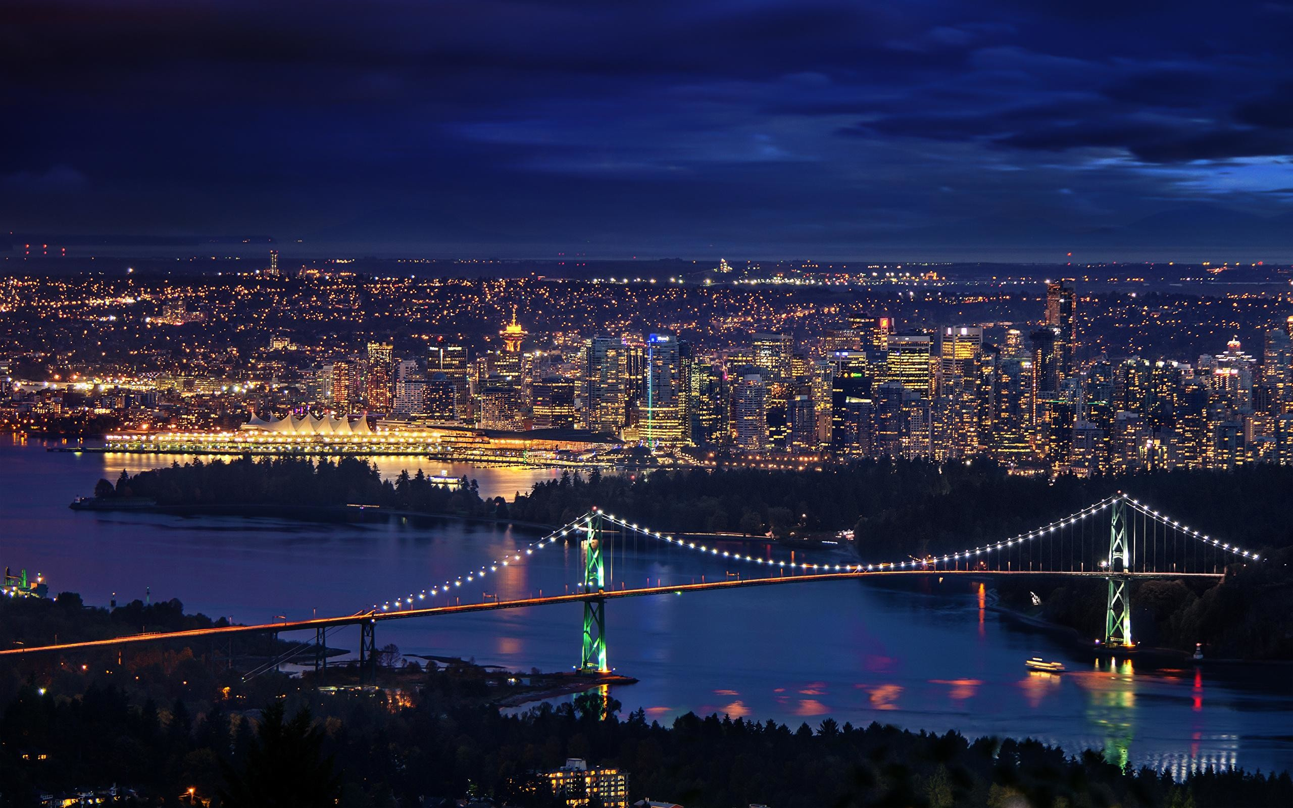 2560x1600  Images Vancouver Canada Downtown Bridges Night Cities