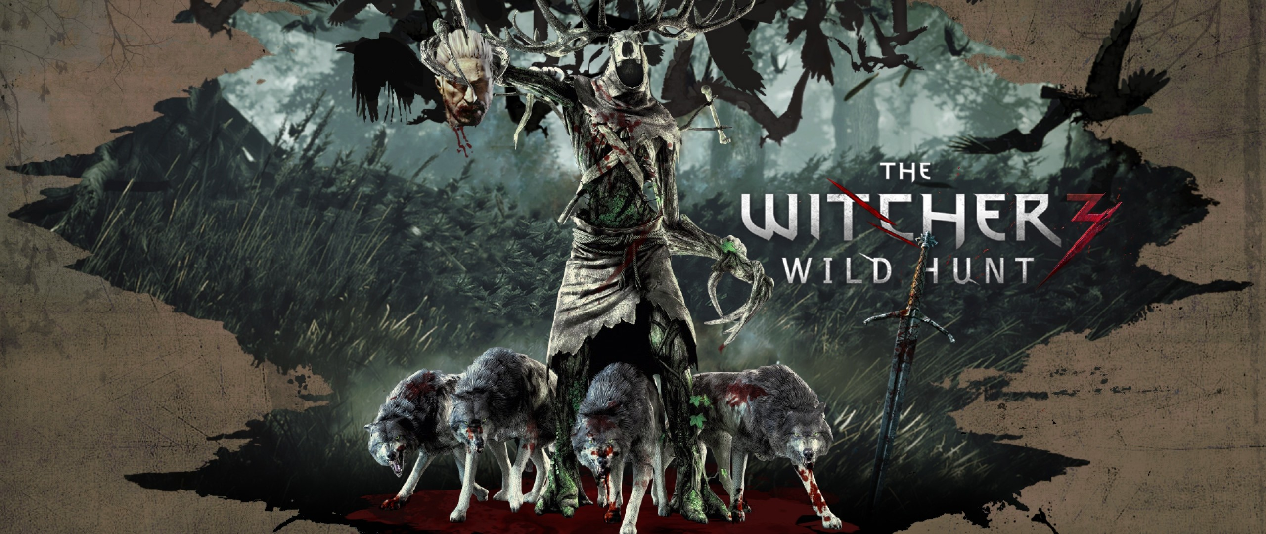 2560x1080 Preview wallpaper the witcher 3 wild hunt, art, wolves