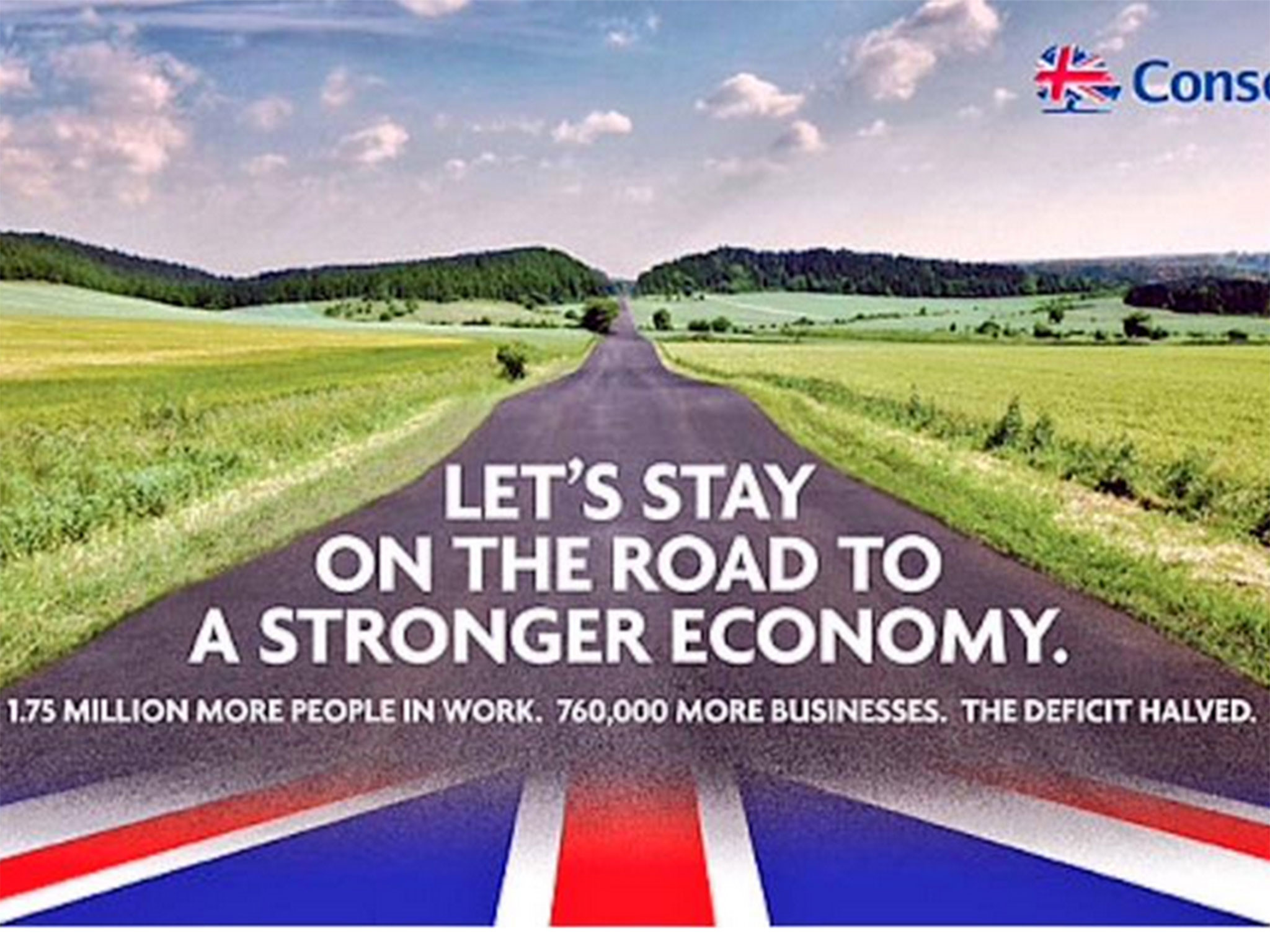 2048x1536 Conservative election poster: Tories use picture of German road in 'road to  recovery' election poster | The Independent