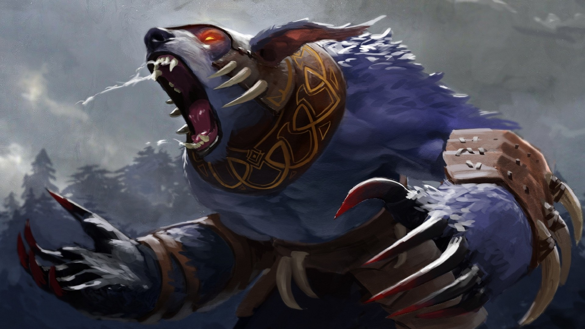 1920x1080  Wallpaper ursa, dota 2, art