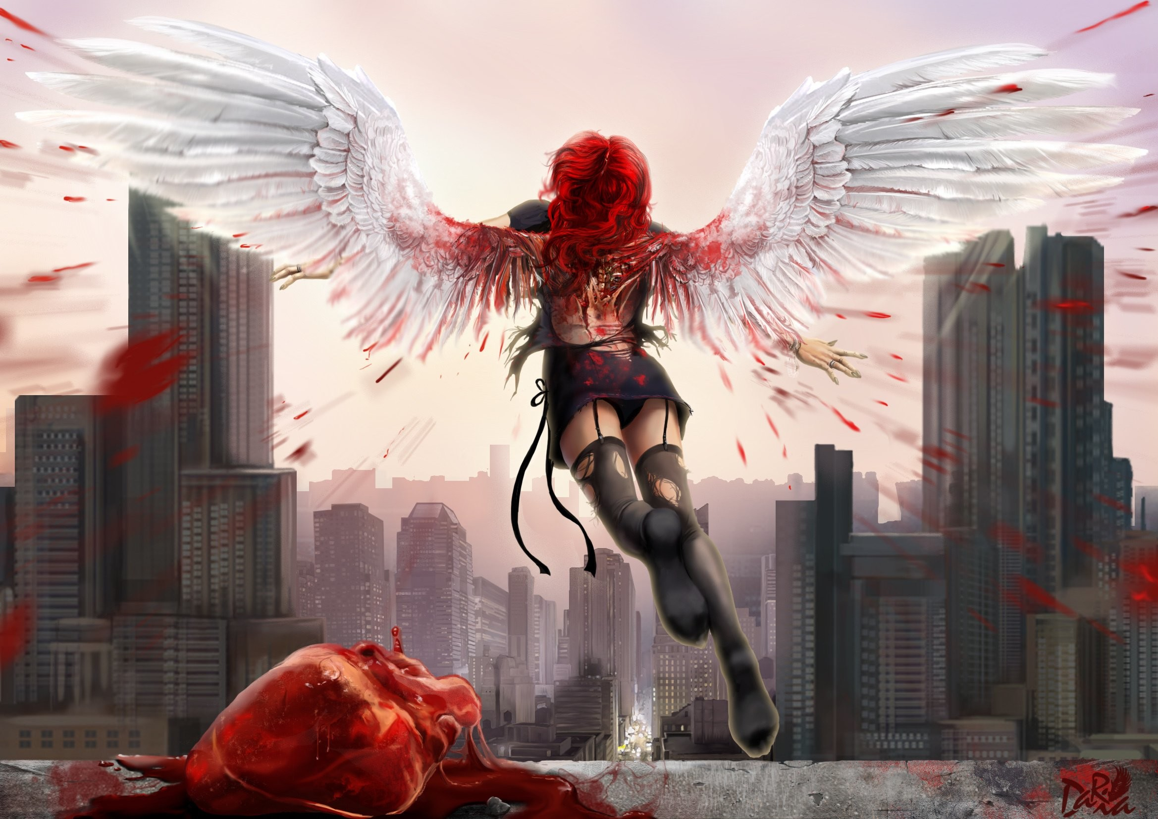 2338x1654 Arts Wings Darianaloki Heart Blood City Angel Girls Wallpaper At Dark  Wallpapers