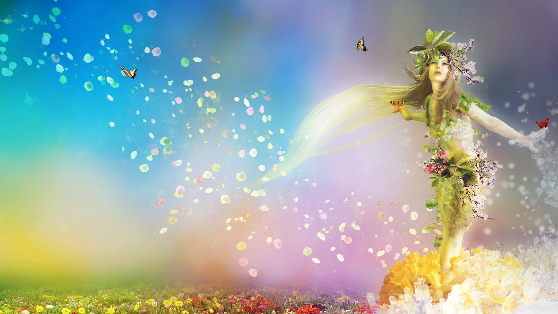 1920x1080 Preview wallpaper spring, nature, flowers, butterflies, girl
