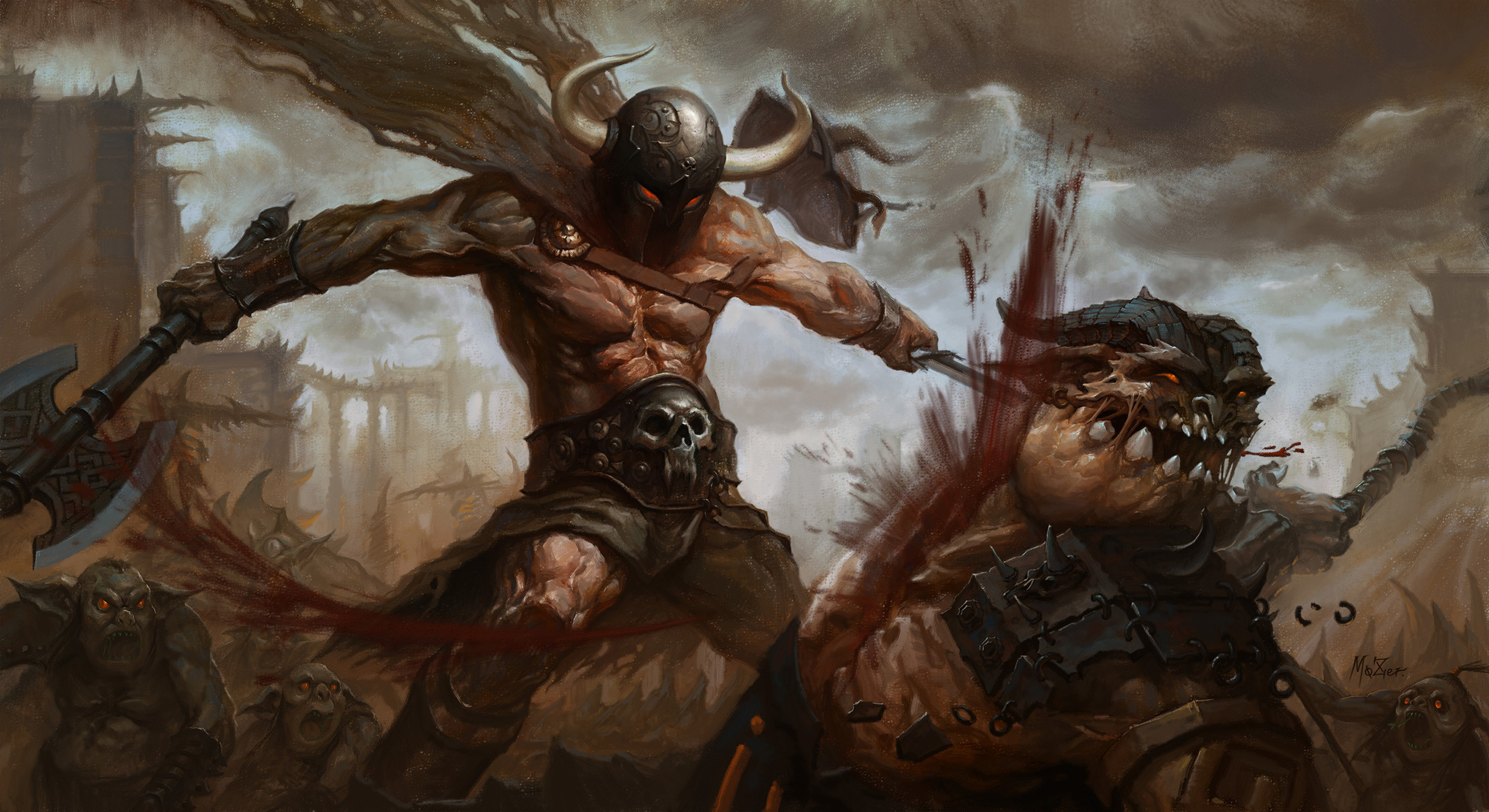 2750x1500 Battle Warrior Monster Battle Axes Blood Fantasy Wallpaper At Fantasy  Wallpapers