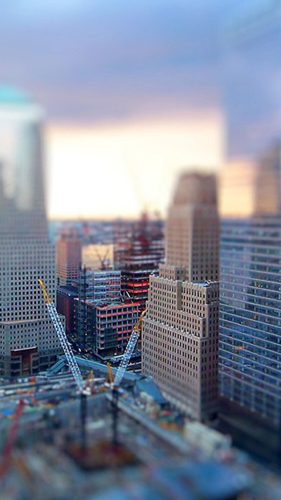 1080x1920 Tilt Shift City Construction Android Wallpaper ...