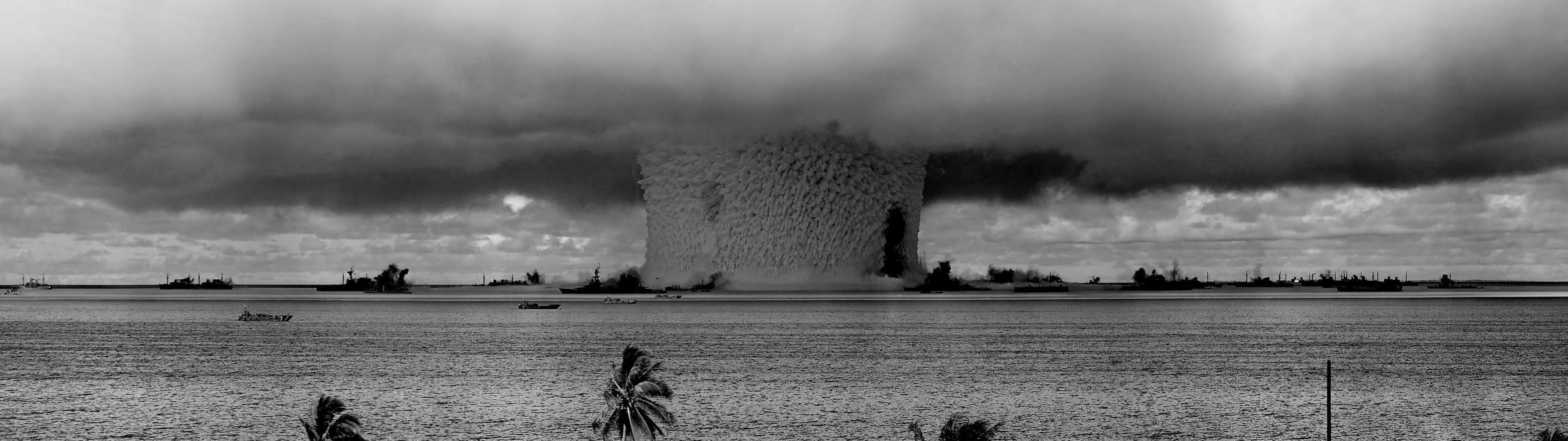 3840x1080 #nuclear, #Bikini Atoll, #multiple display, #war wallpaper