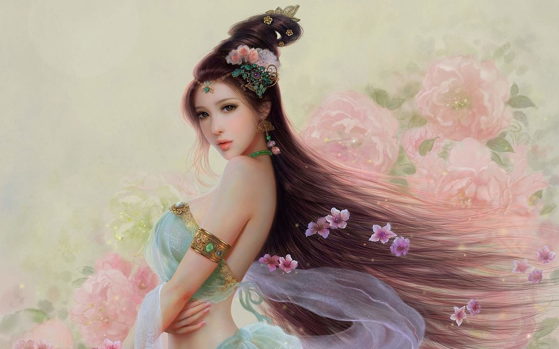 1920x1200 Beautiful Fantasy Girl Painting Wallpaper