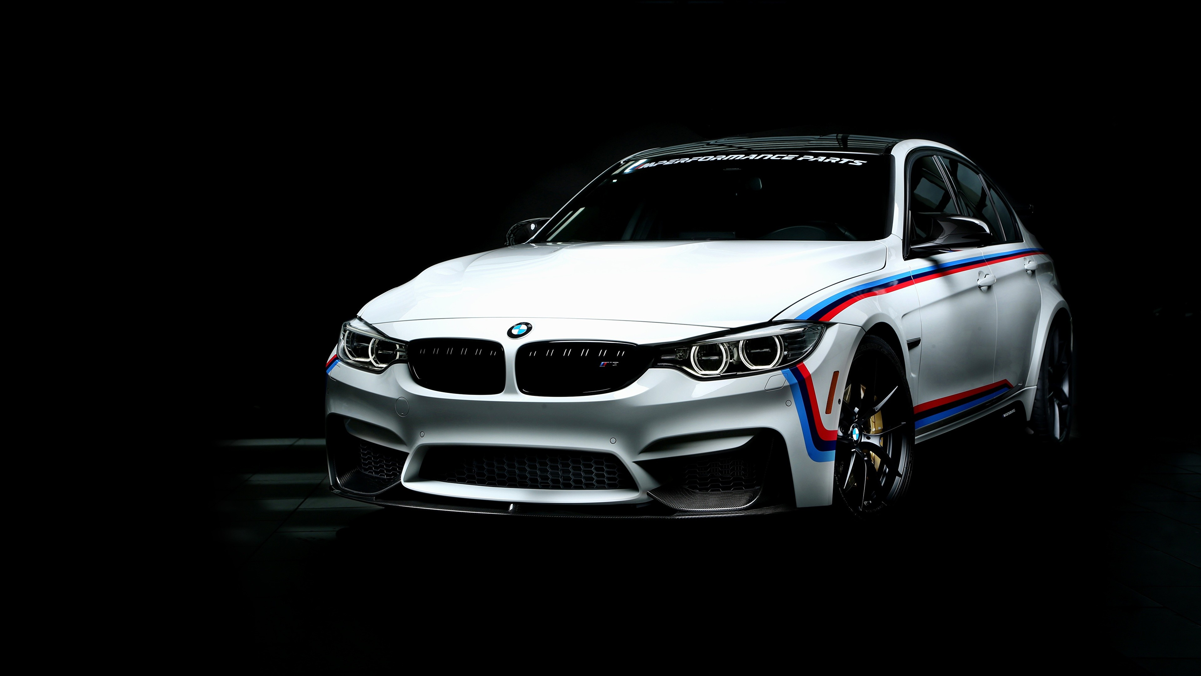 3840x2160 Image BMW 3-Series F80 White auto Black background  Cars automobile