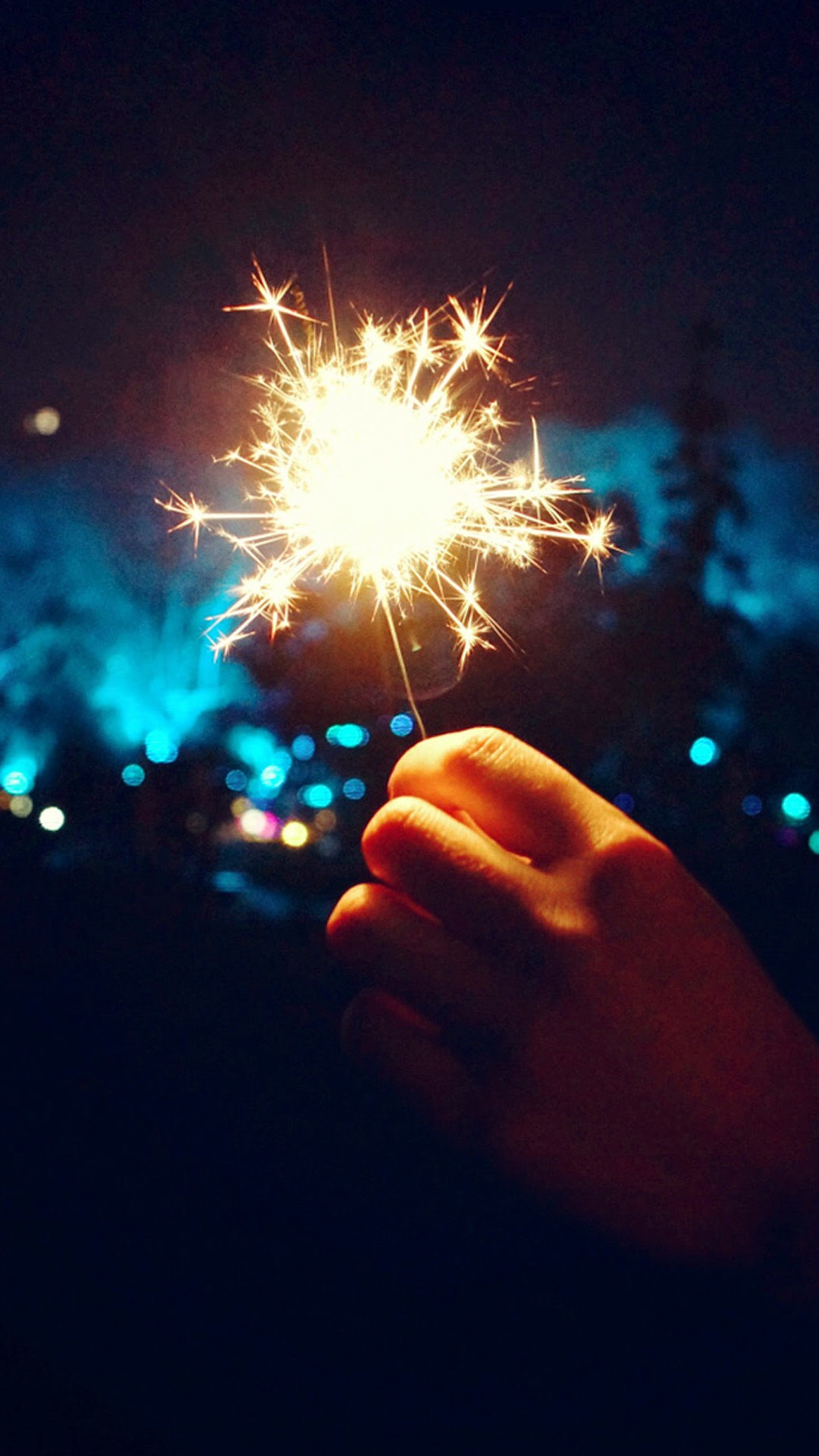 1080x1920 Happy New Year Fireworks Hand #iPhone #6 #plus #wallpaper
