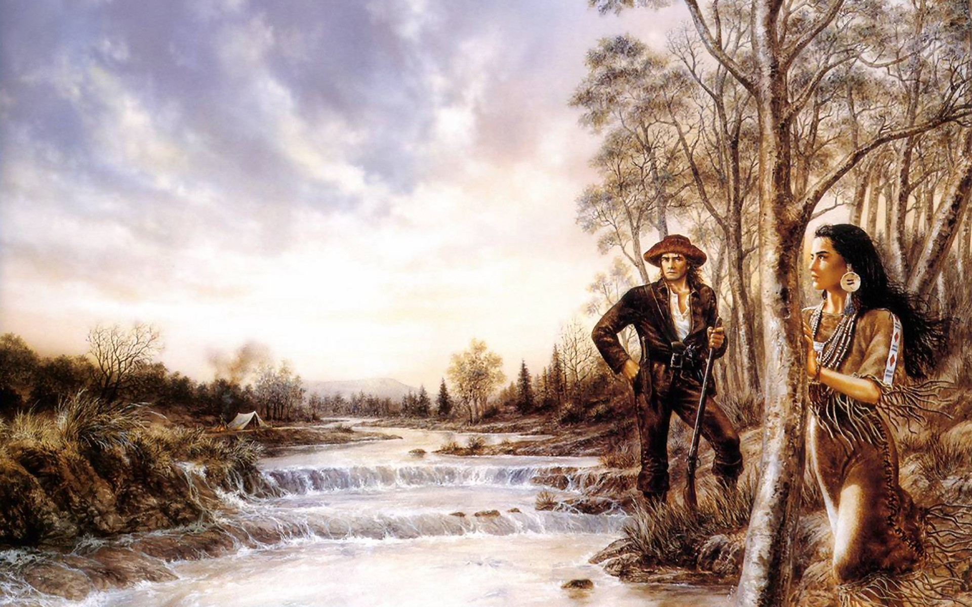 1920x1200 Artistic - Native American Indian American West Woman Man Gun River Stream  Landscape Cloud Wallpaper