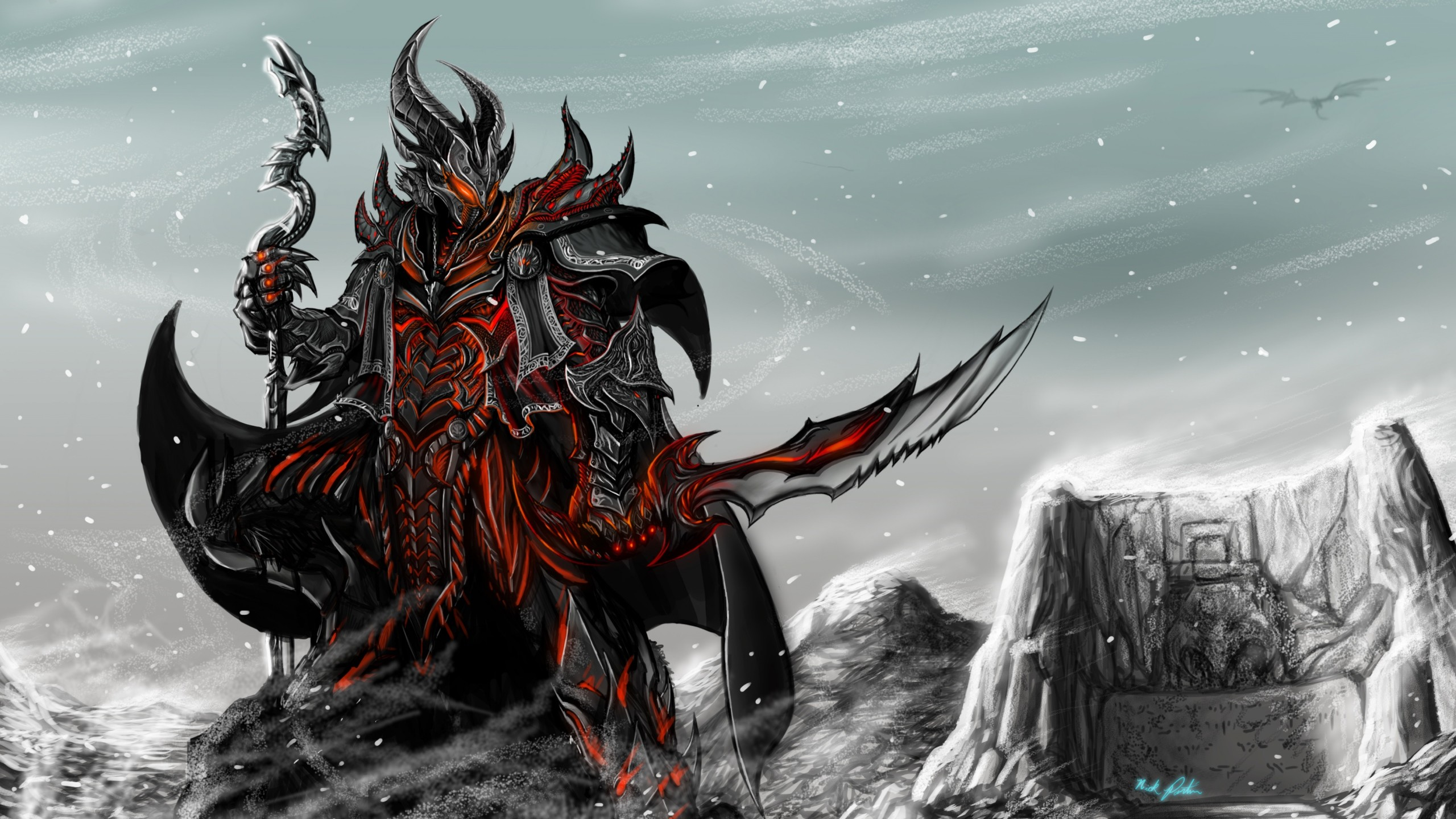 2560x1440  Wallpaper skyrim, game, art, rider, armor, staff, sword