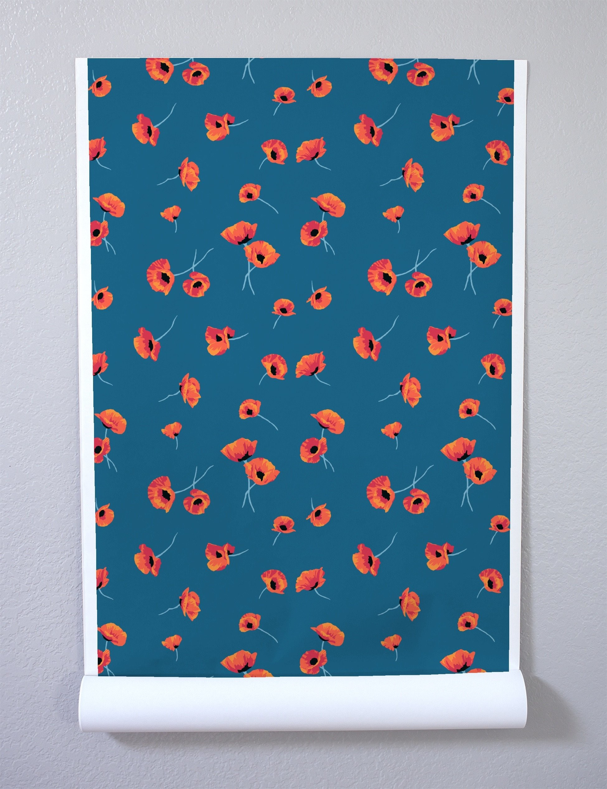 1950x2535 Poppy Wallpaper - Cadet Blue