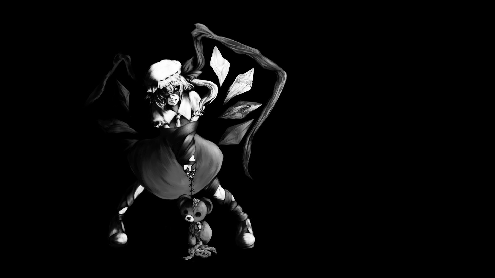 1920x1080 black and white video games Touhou wings black dark dress long hair  vampires crystals stuffed animals