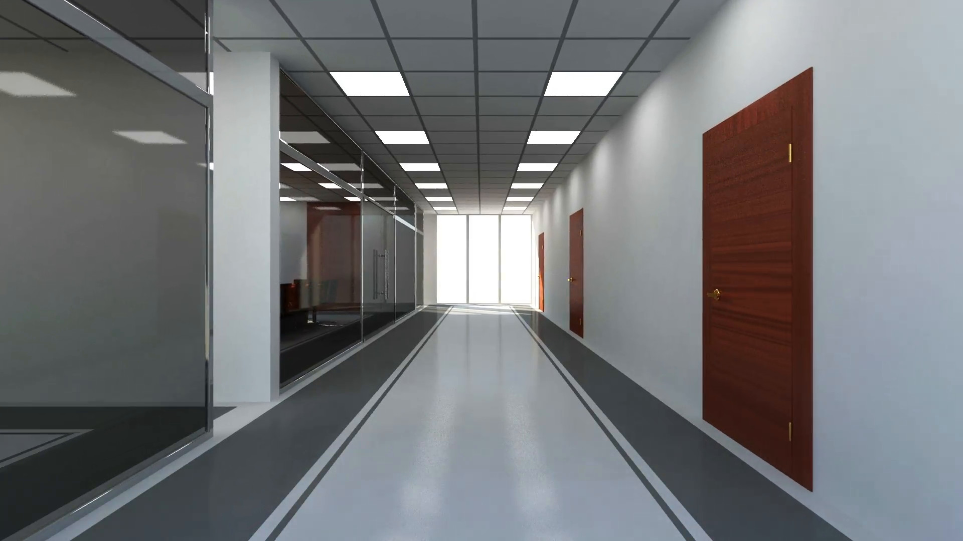 1920x1080 Animation of Modern Empty Office 3D Interior. Camera Flying from Corridor  to Meeting Room Motion Background - VideoBlocks