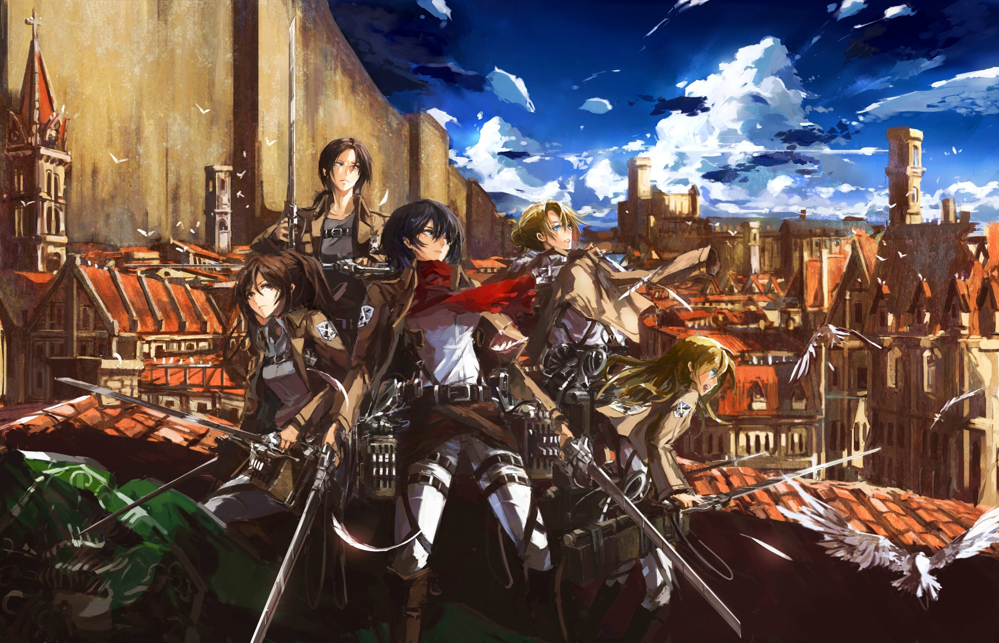 2000x1289 shingeki no kyojin animal annie leonhardt bird gun mikasa ackerman sasha  browse shingeki no kyojin stu dts weapon ymir (shingeki no kyojin) wallpaper  ...