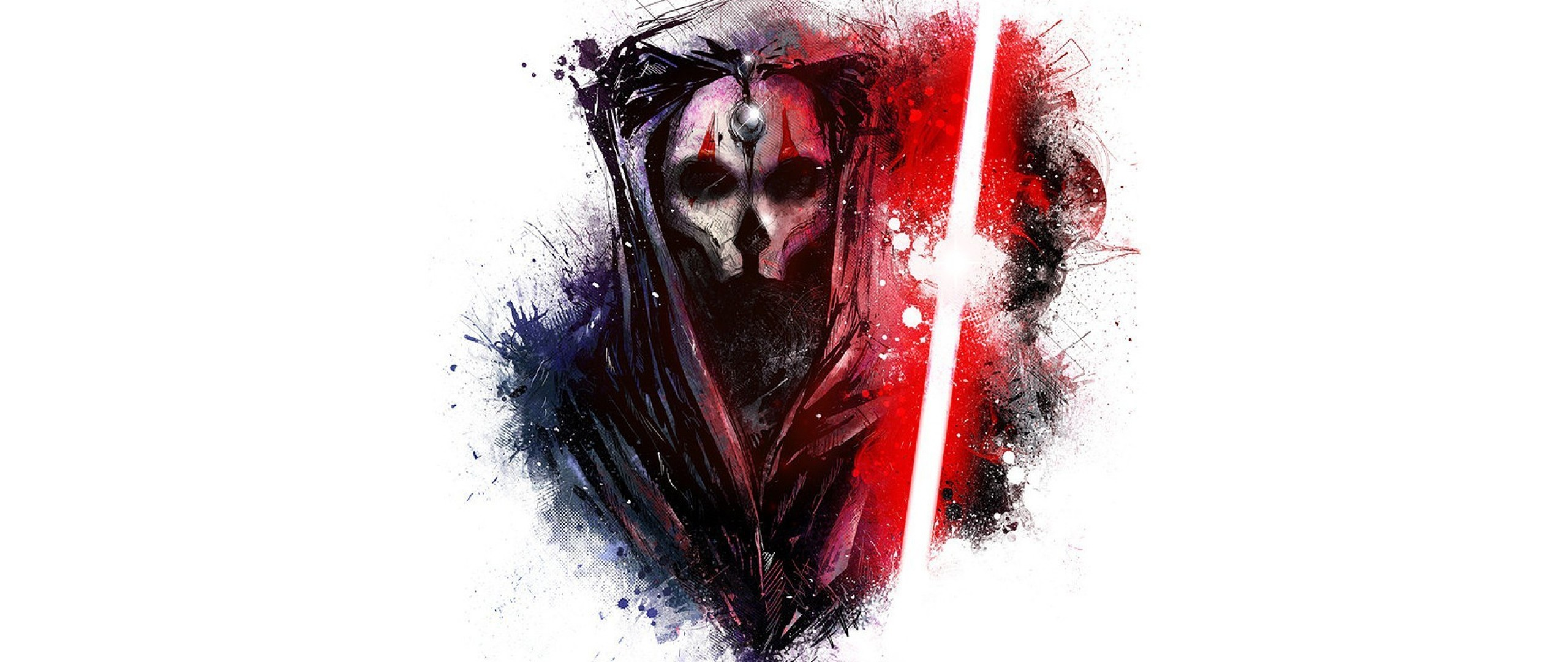 2560x1080  Wallpaper star wars, art, sword, mask