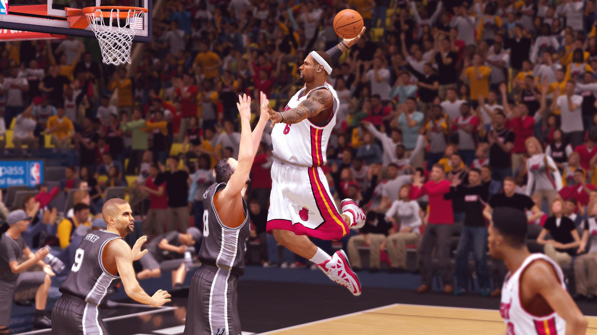 1920x1080 LeBron James dunking, Miami Heat, NBA 2K14  wallpaper