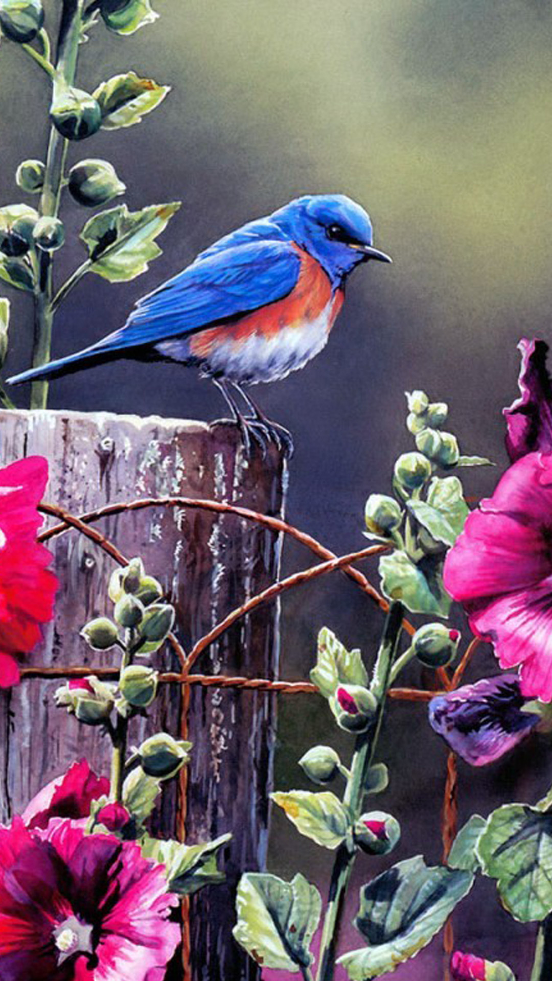 1080x1920 Spring Blue Bird Illustration Flowers Android Wallpaper download