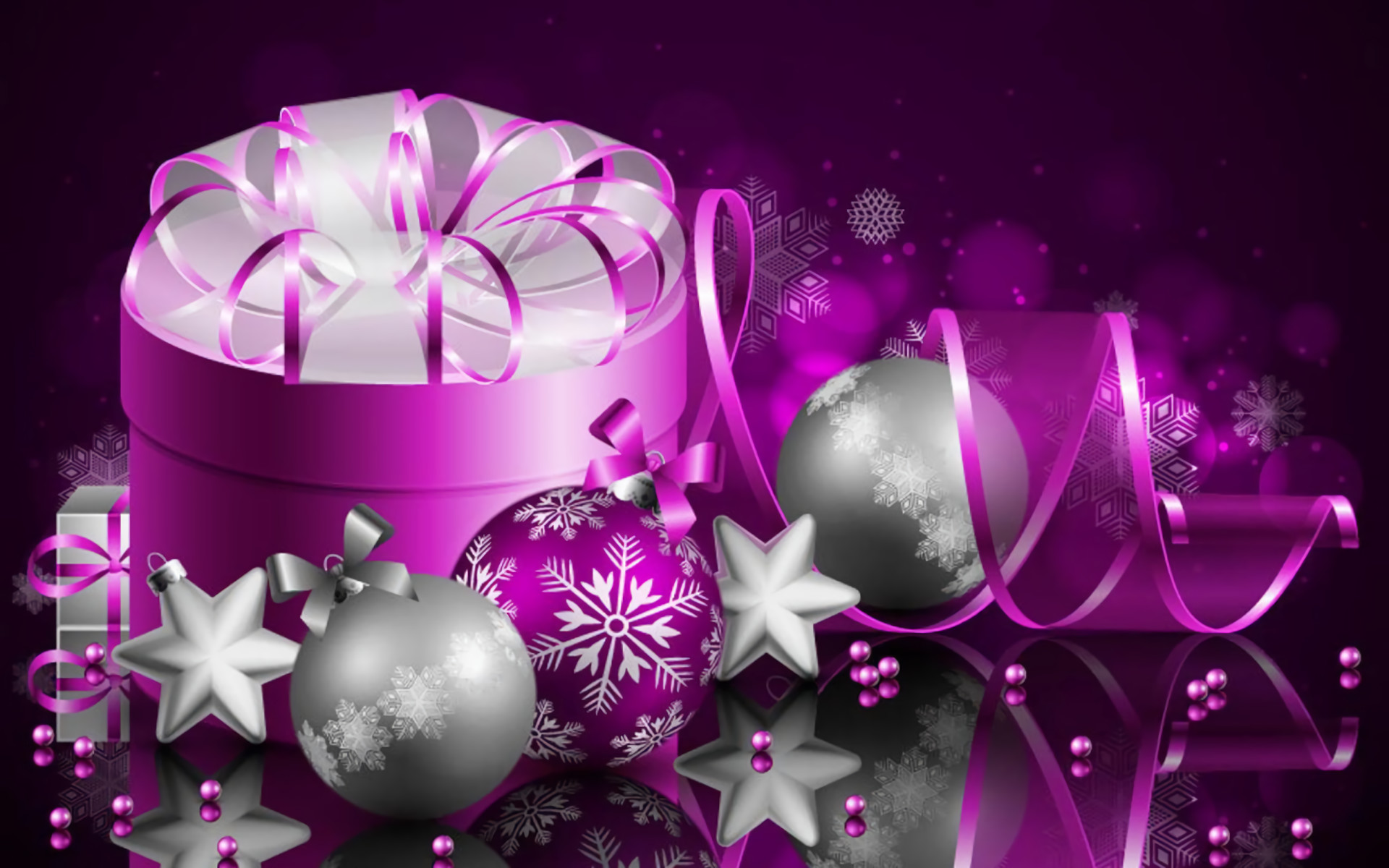 1920x1200 Holiday - Christmas Holiday Purple Silver Gift Christmas Ornaments Ribbon  Wallpaper