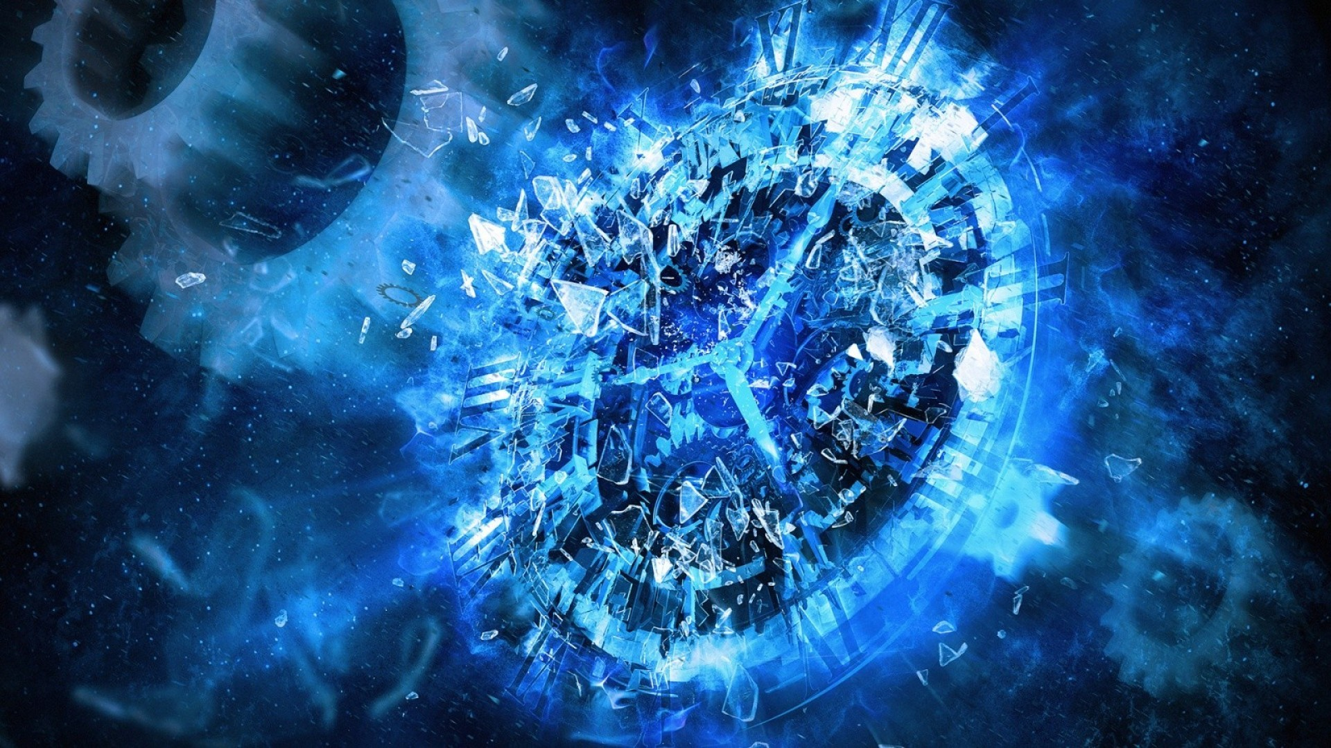 1920x1080 widescreen blue clock abstract hd desktop wallpaper