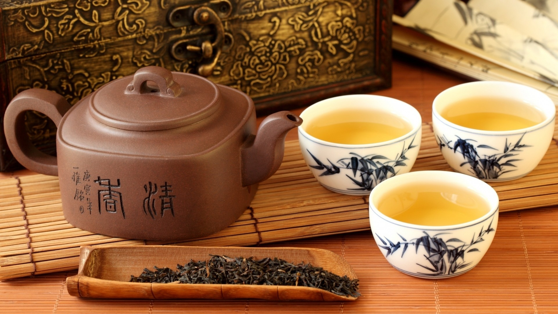 1920x1080  Wallpaper tea, teapot, tea leaves, service, chinese, hieroglyphs,  chest
