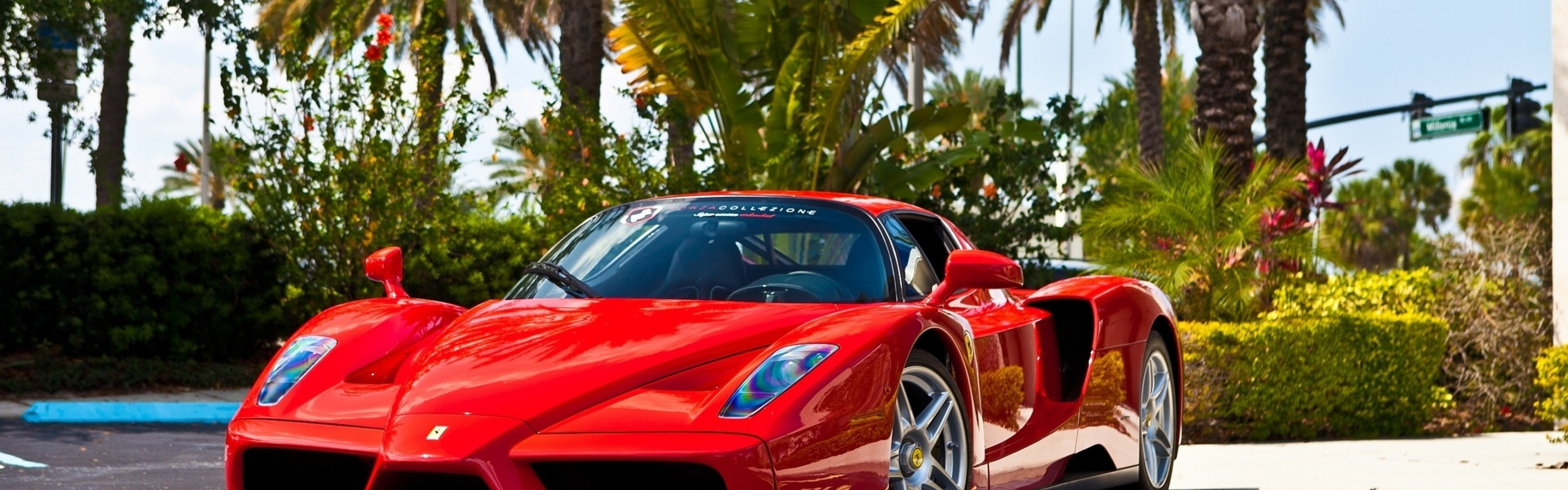 3840x1200  Wallpaper ferrari, enzo, red