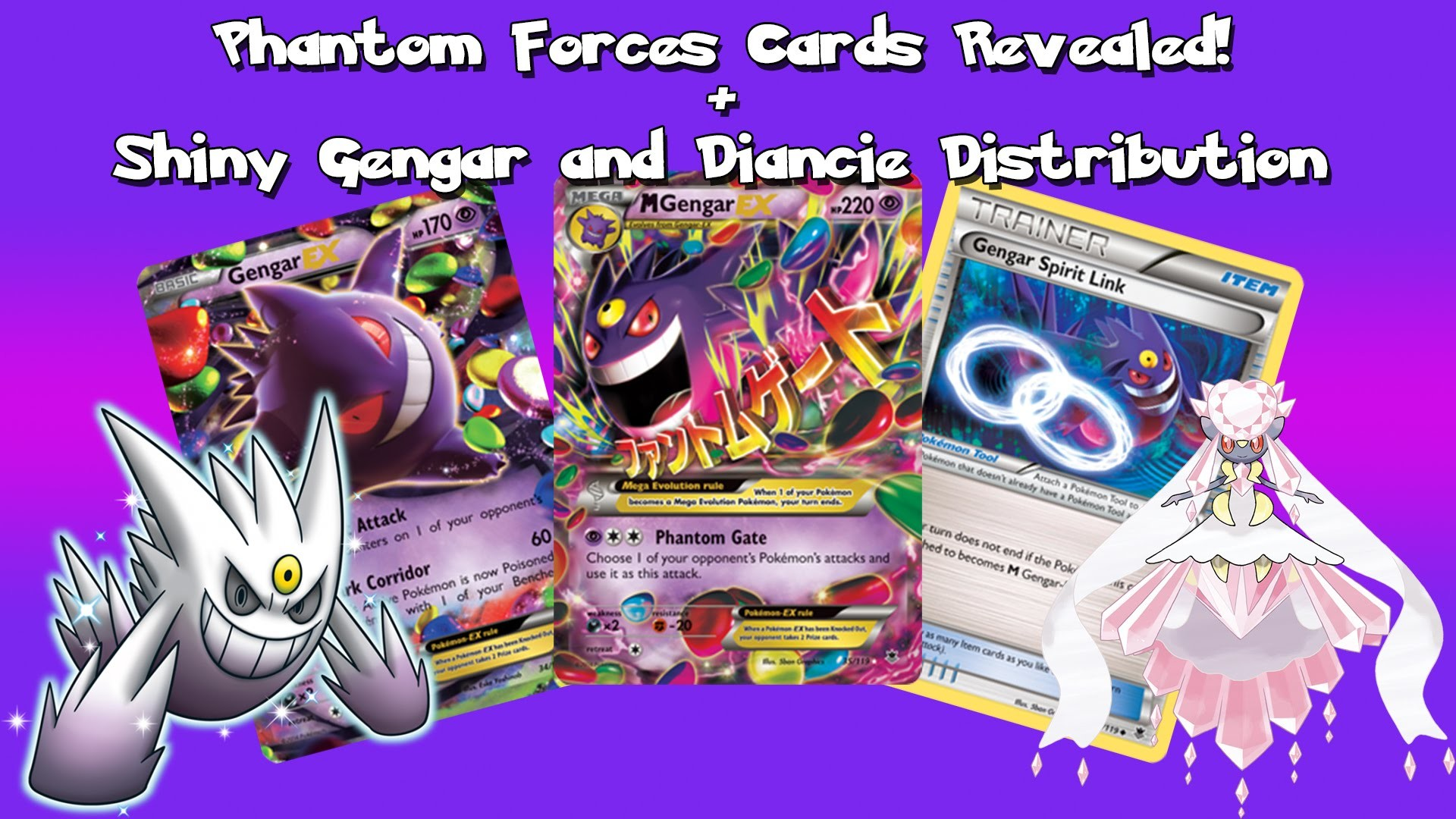 1920x1080 Pokémon News: English Phantom Forces Cards Revealed! + Shiny Gengar and  Dianice Distribution - YouTube