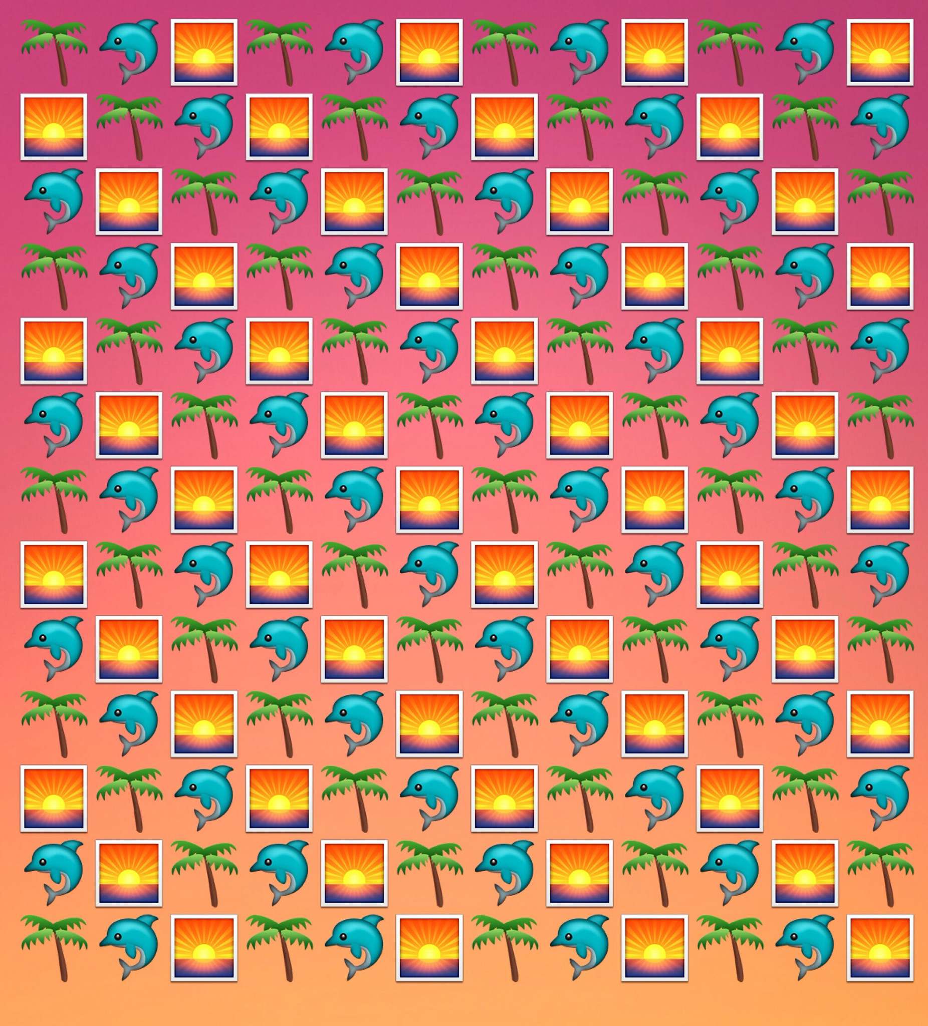 1852x2048 Emoji wallpaper background for desktop or phone ~ dolphins on a tropical  sunset beach