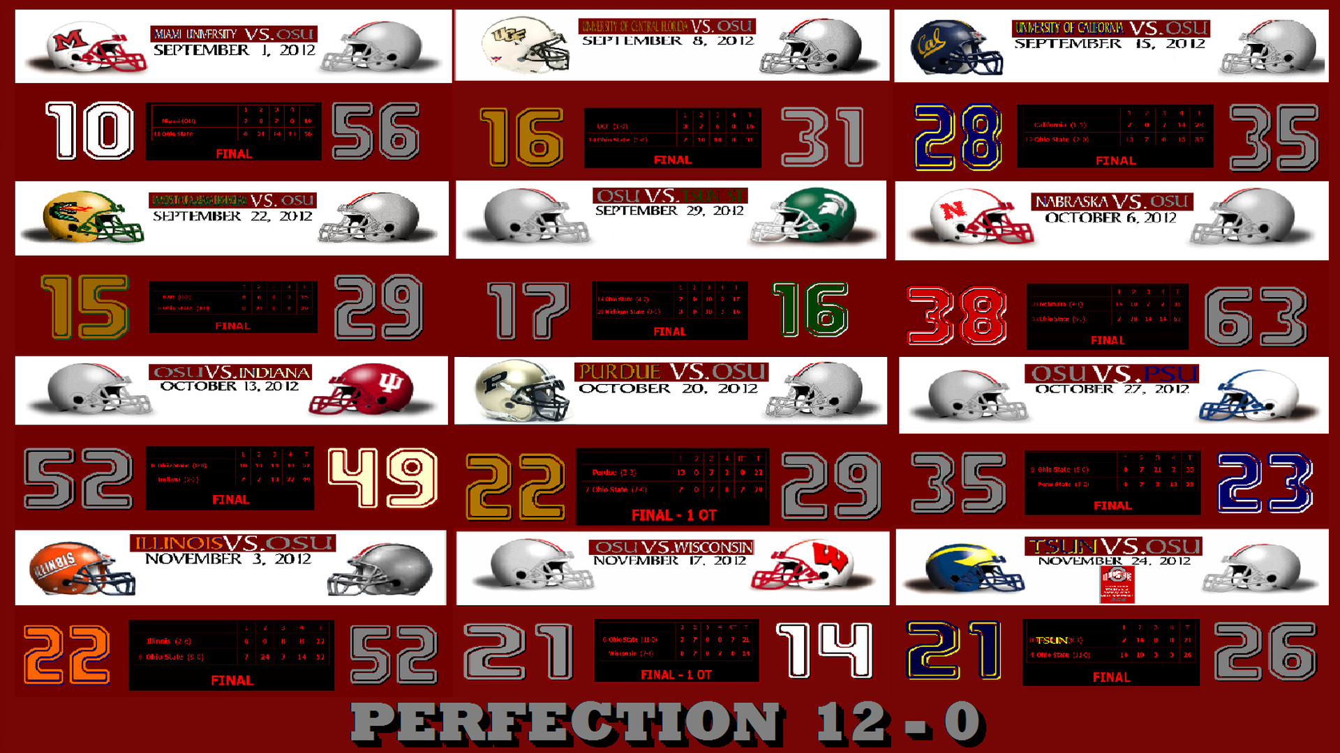 1920x1080 ... PERFECTION 12-0 - Ohio State Football Wallpaper (32900069) - Fanpop ...