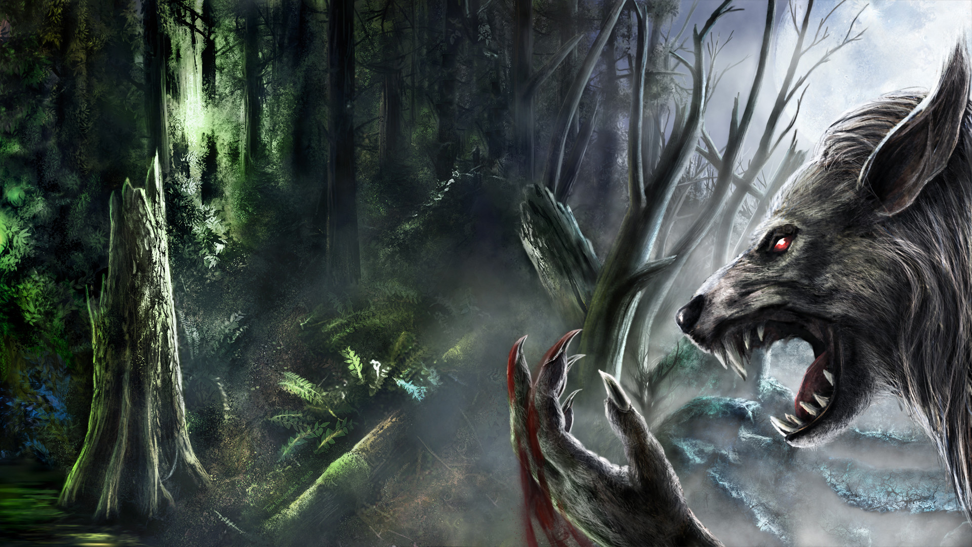 1920x1080 Werewolf fantasy art dark monster creatures blood fangs trees forest spooky  creepy scary evil wallpaper |