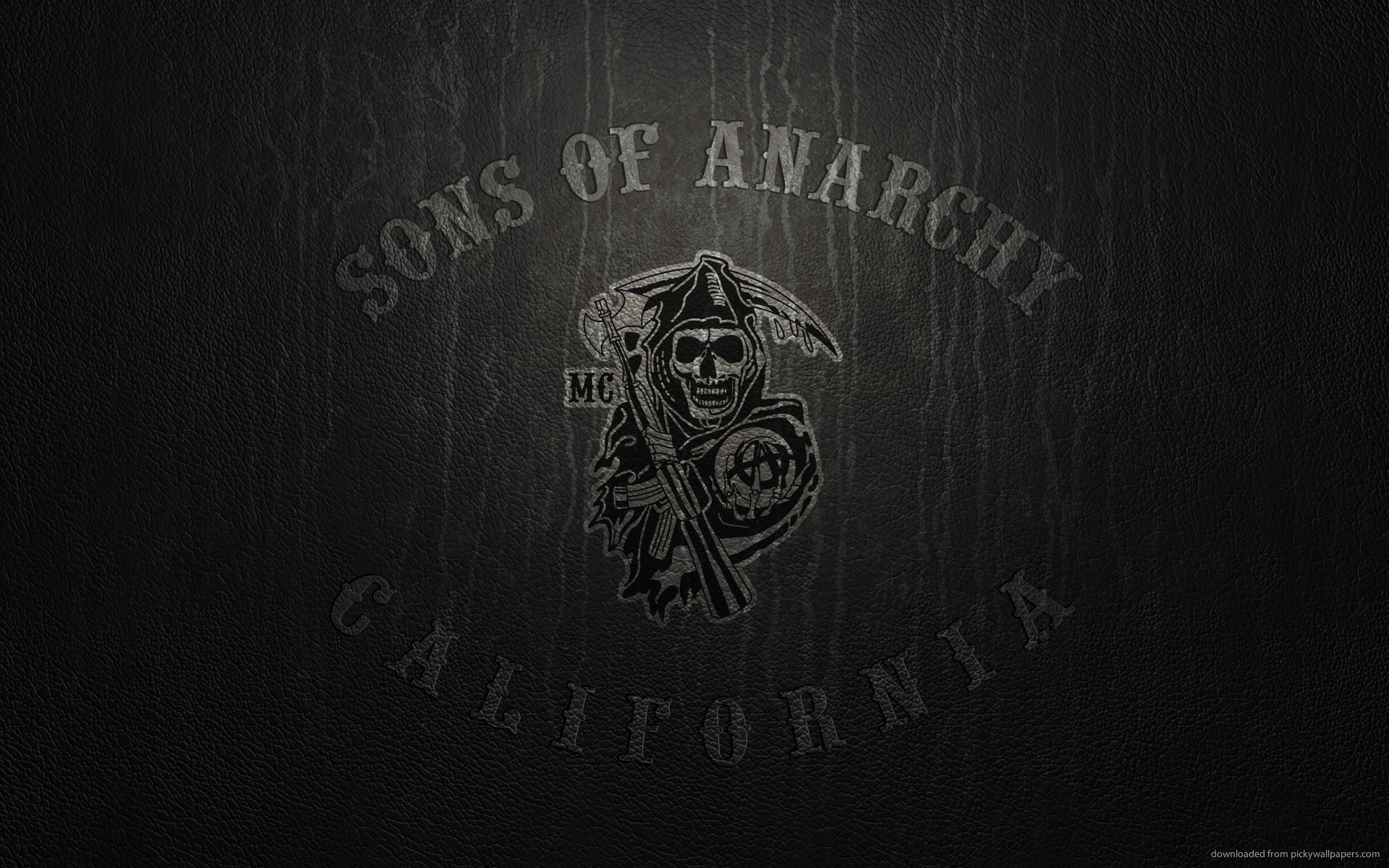 1920x1200 Sons Of Anarchy Logo On Leather for