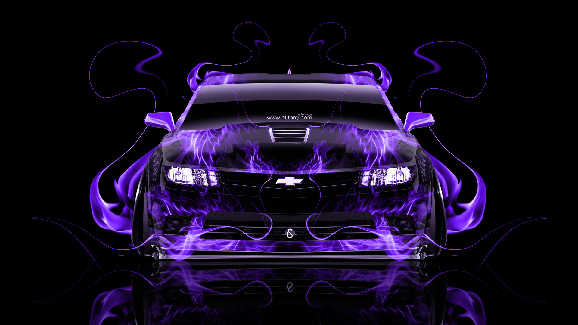 1920x1080 Chevrolet-Camaro-Z28-Muscle-Front-Violet-Fire-Abstract- ...