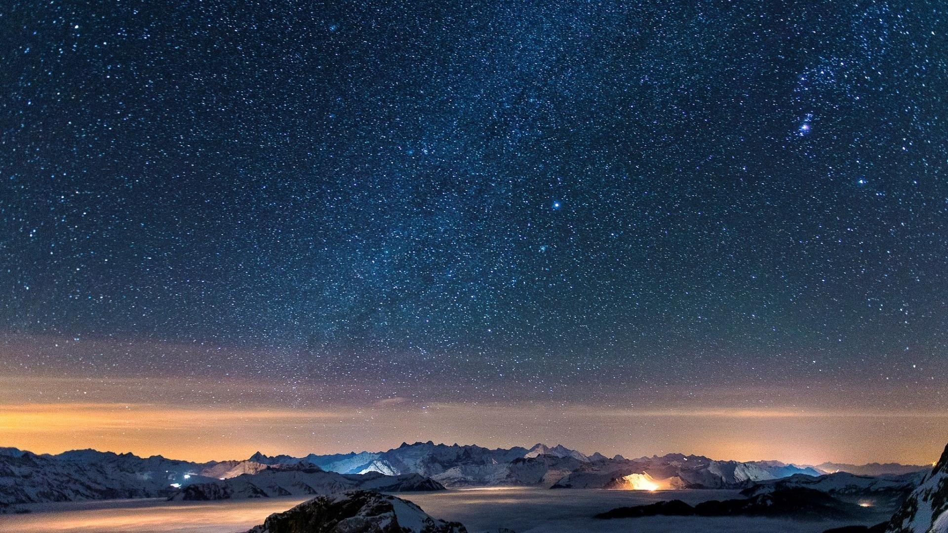 1920x1080 Snow stars wall night sky wallpaper | (59391)